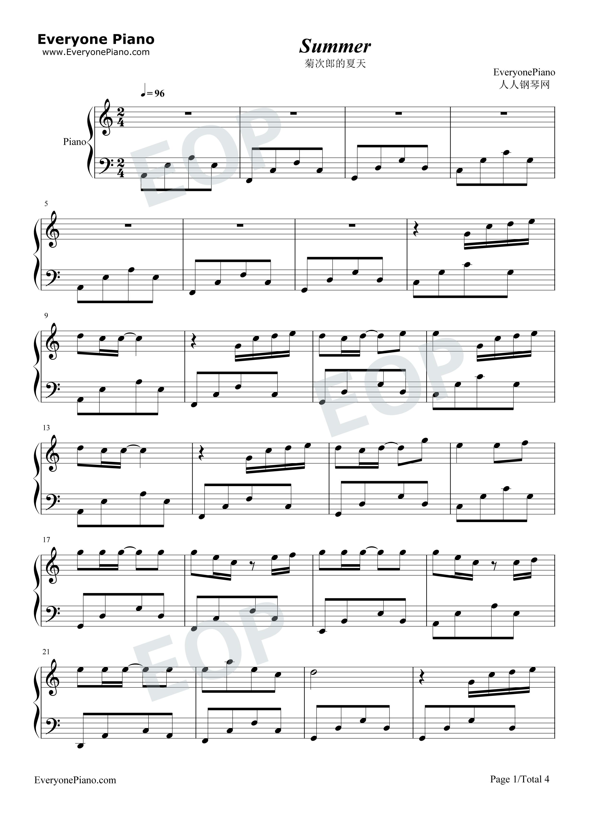 钢琴曲谱 影视 菊次郎的夏天-summer-c调简单版 菊次郎的夏天-summer