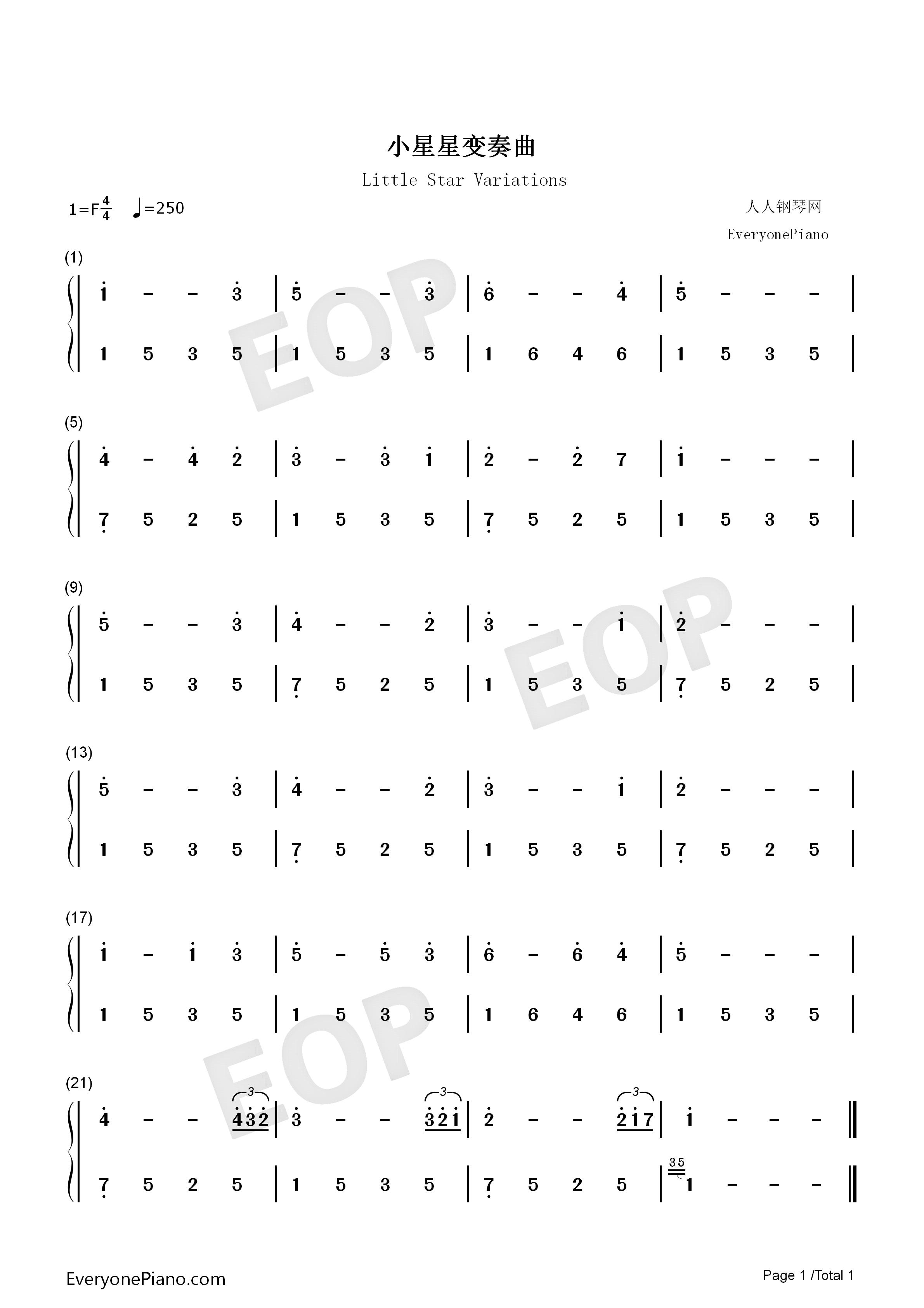 小星星变奏曲-demon双手简谱预览1-钢琴谱档(五线谱