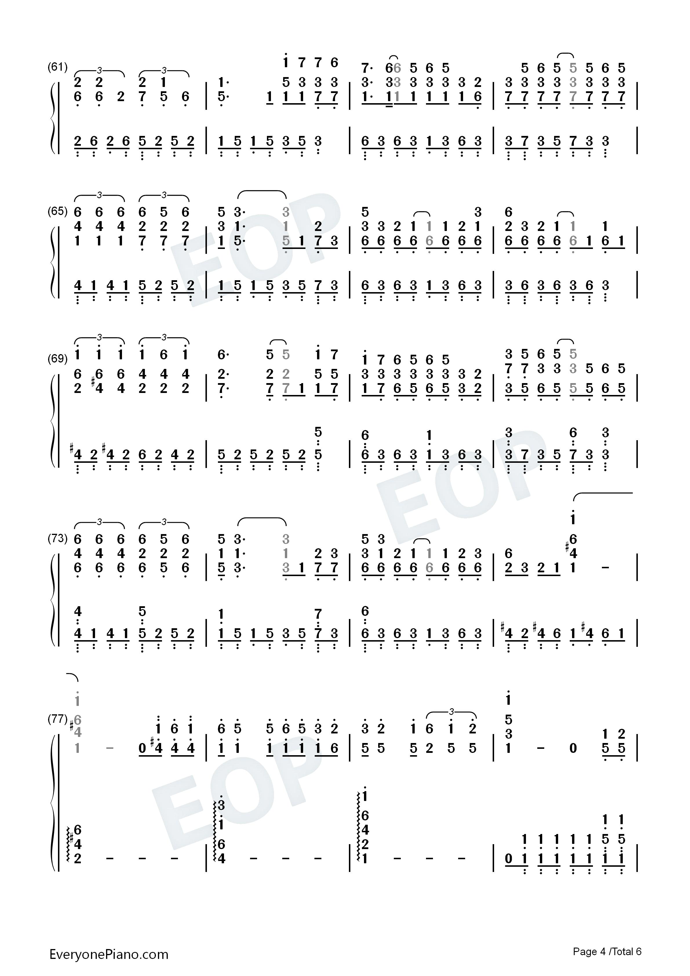 富士山下-陈奕迅双手简谱预览4-钢琴谱档(五线谱,双手
