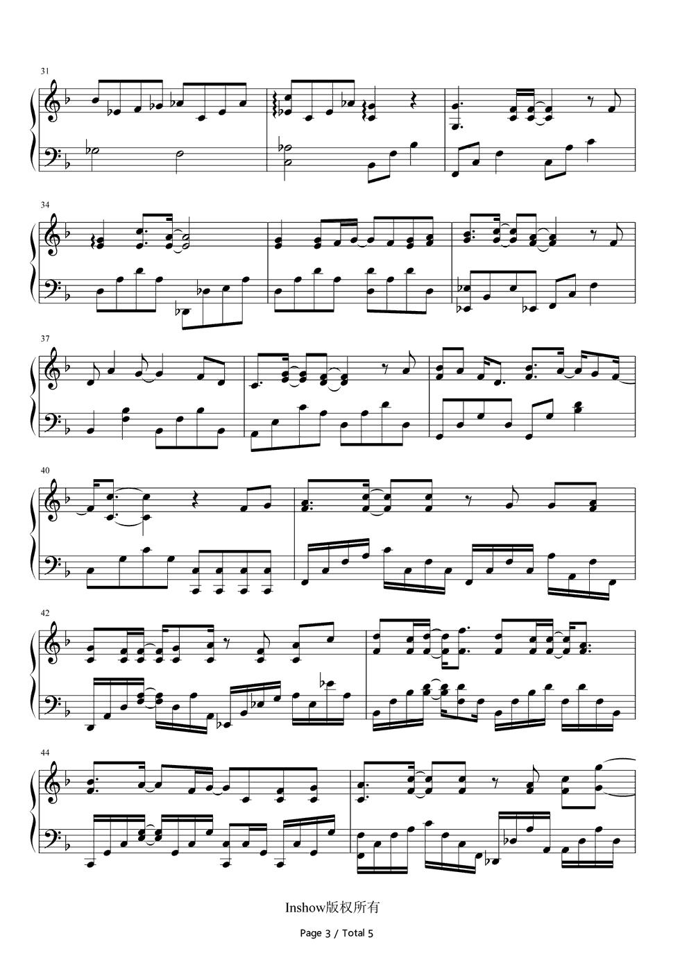 钢琴曲谱 流行 心如玄铁-活色生香片尾曲 心如玄铁-活色生香片尾曲