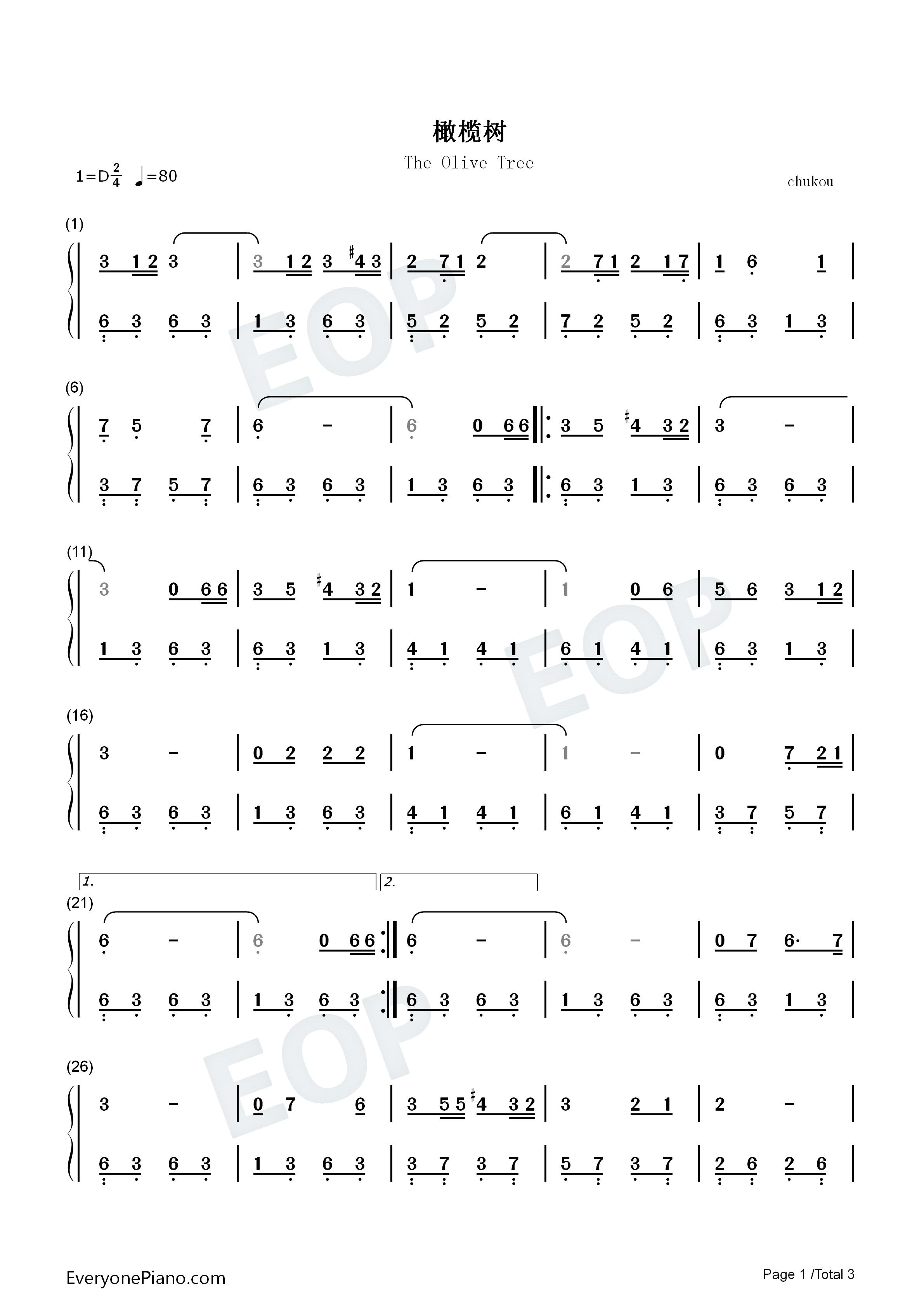 橄榄树-齐豫双手简谱预览1