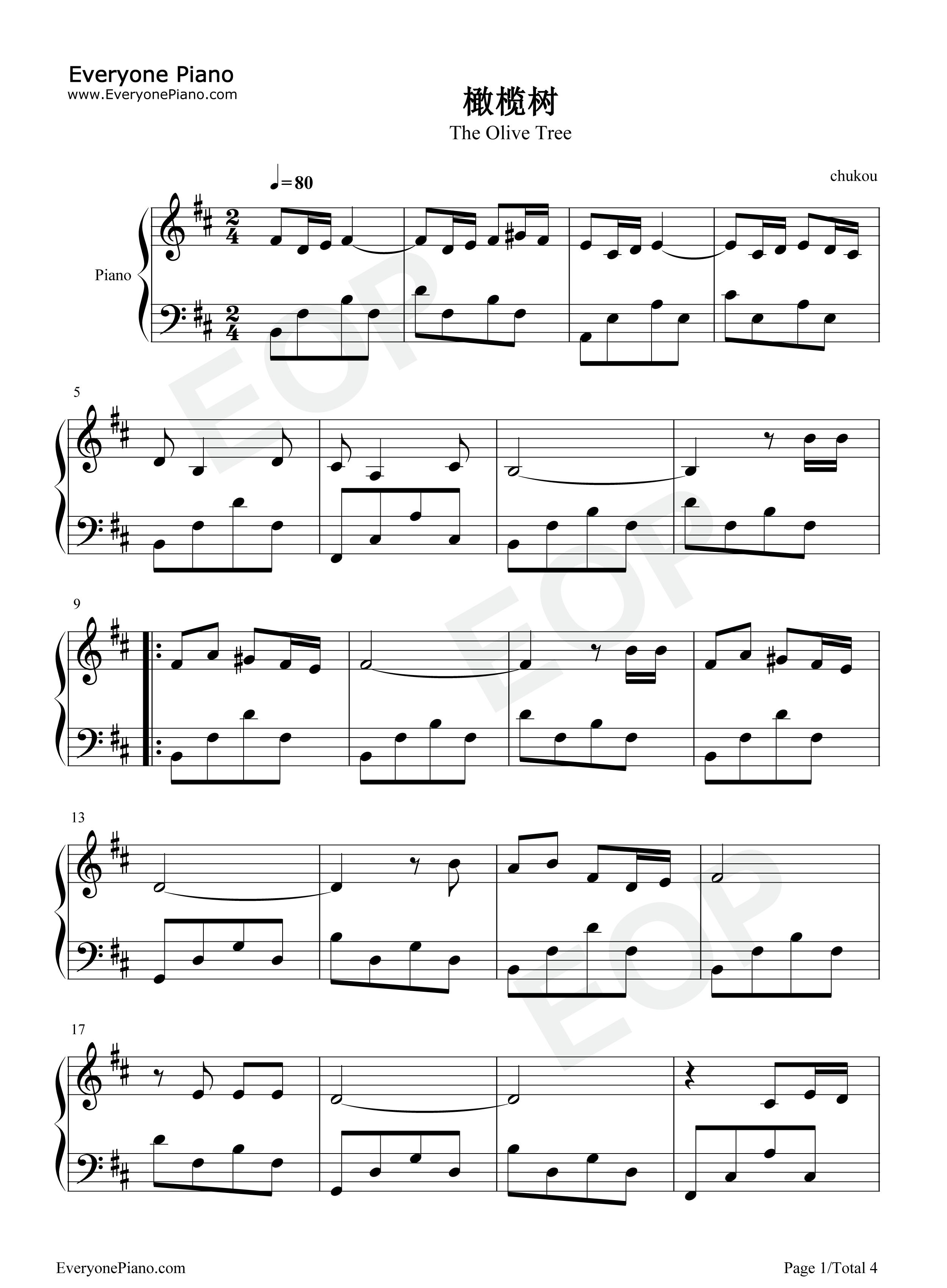 橄榄树-齐豫五线谱预览1-钢琴谱(五线谱,双手简谱)
