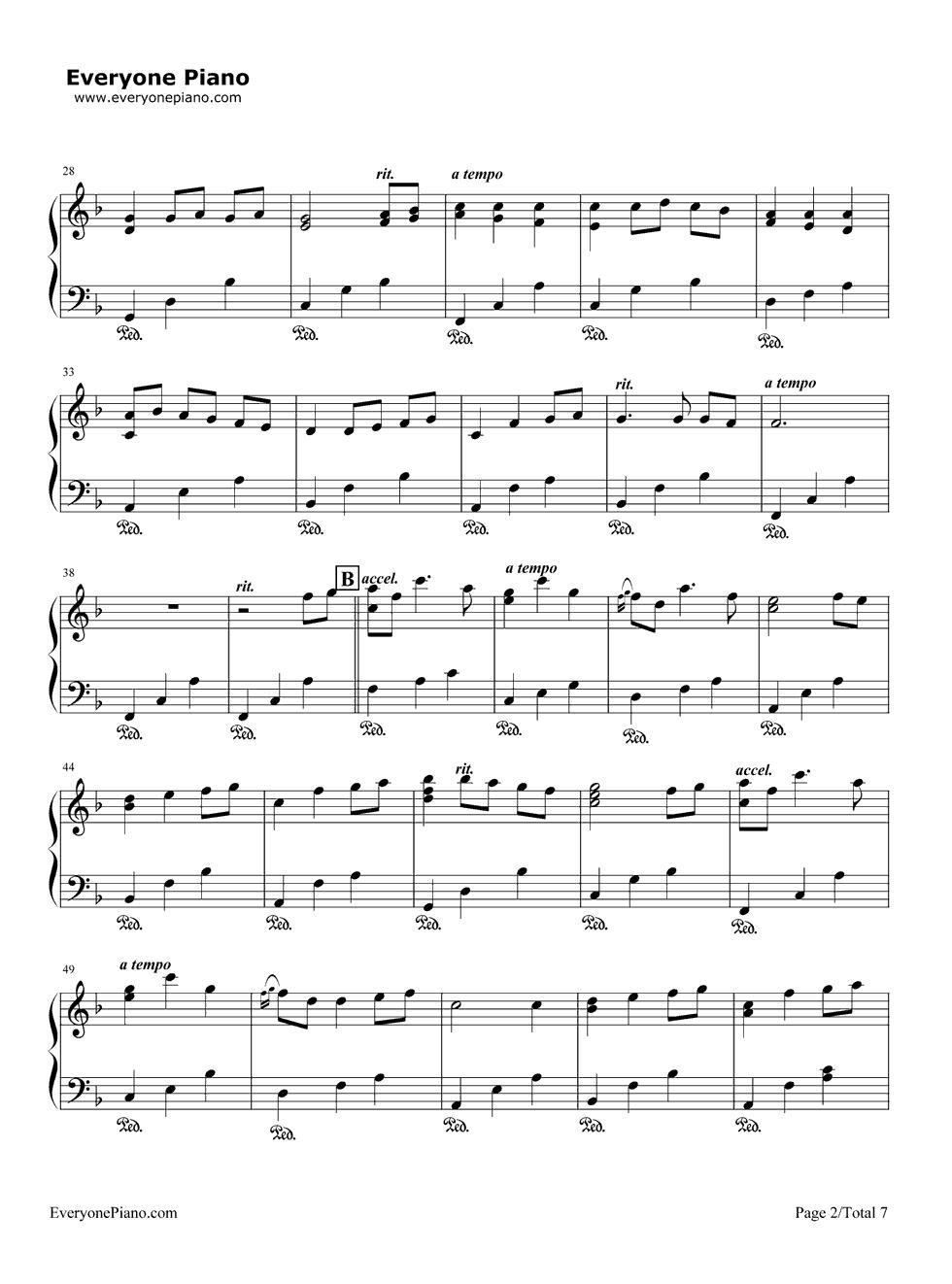 钢琴曲谱 动漫 いつも何度でも-千与千寻主题曲 いつも何度でも-千与