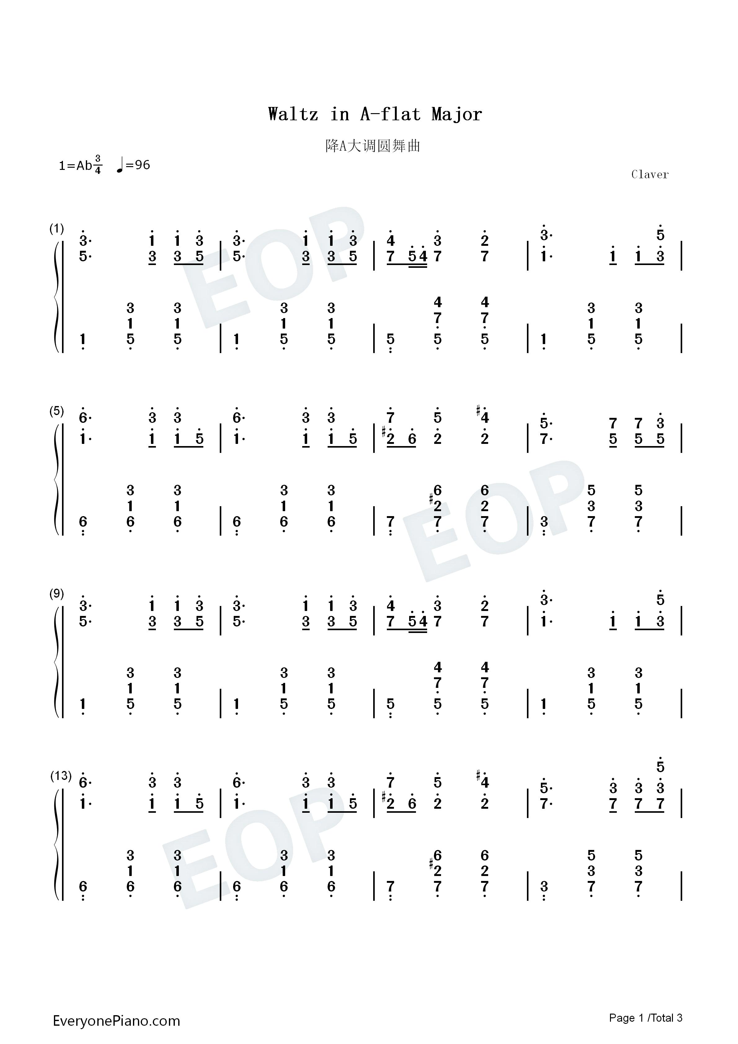 降a大调圆舞曲-勃拉姆斯双手简谱预览1