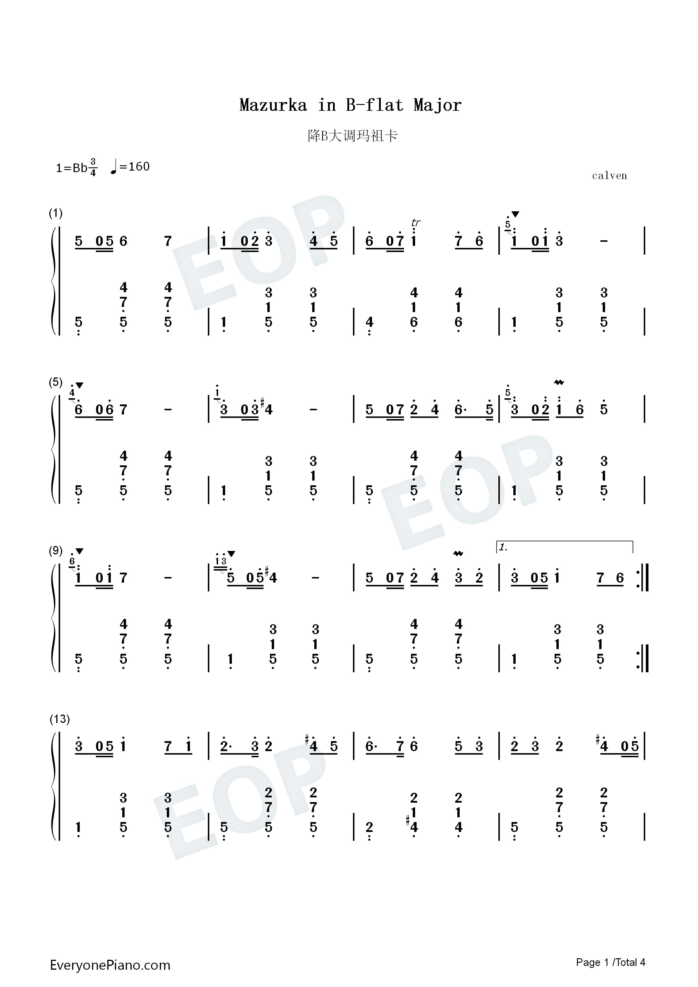降b大调玛祖卡-肖邦双手简谱预览1