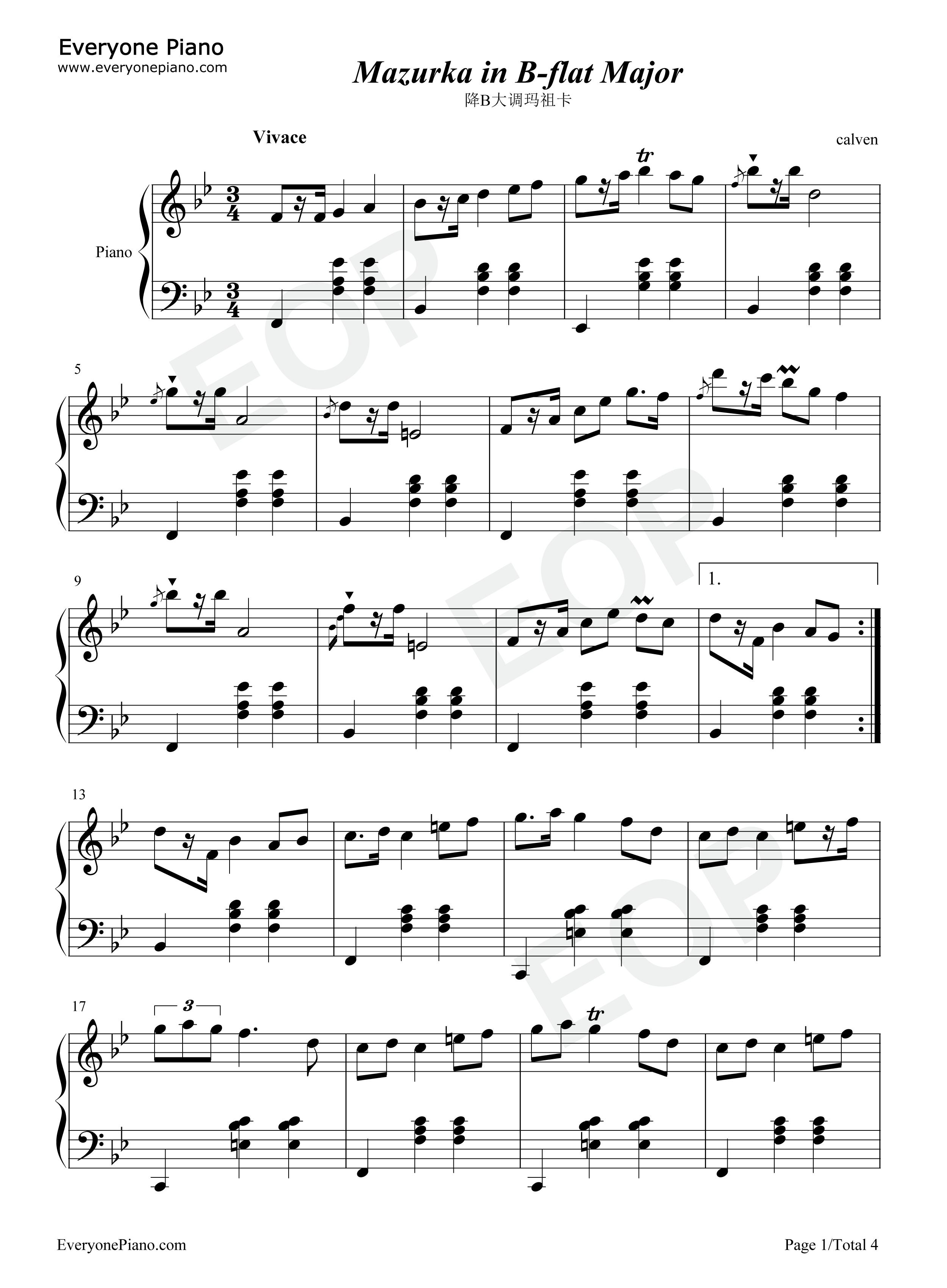 降b大调玛祖卡-肖邦五线谱预览1