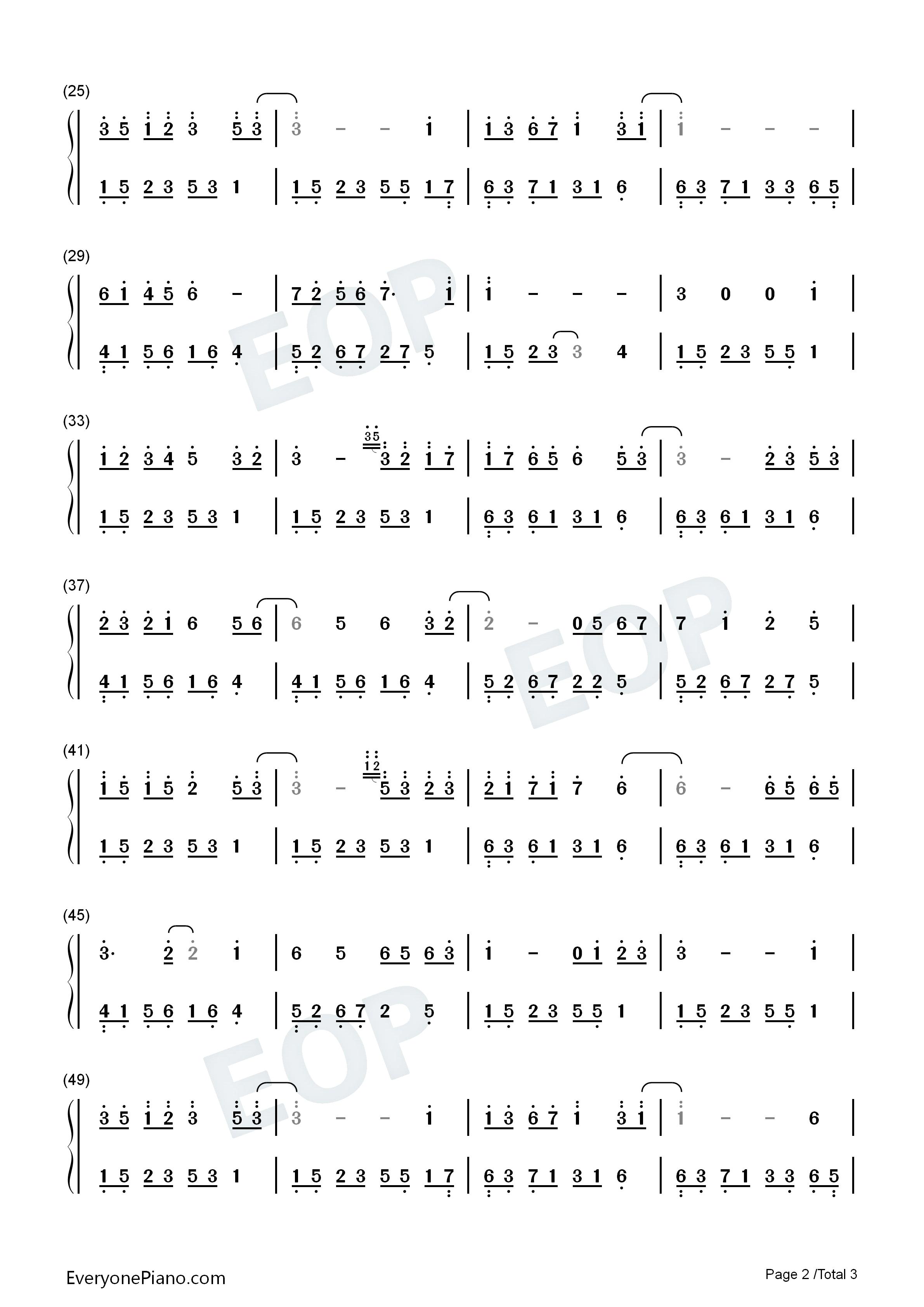夜的钢琴曲十三双手简谱预览2