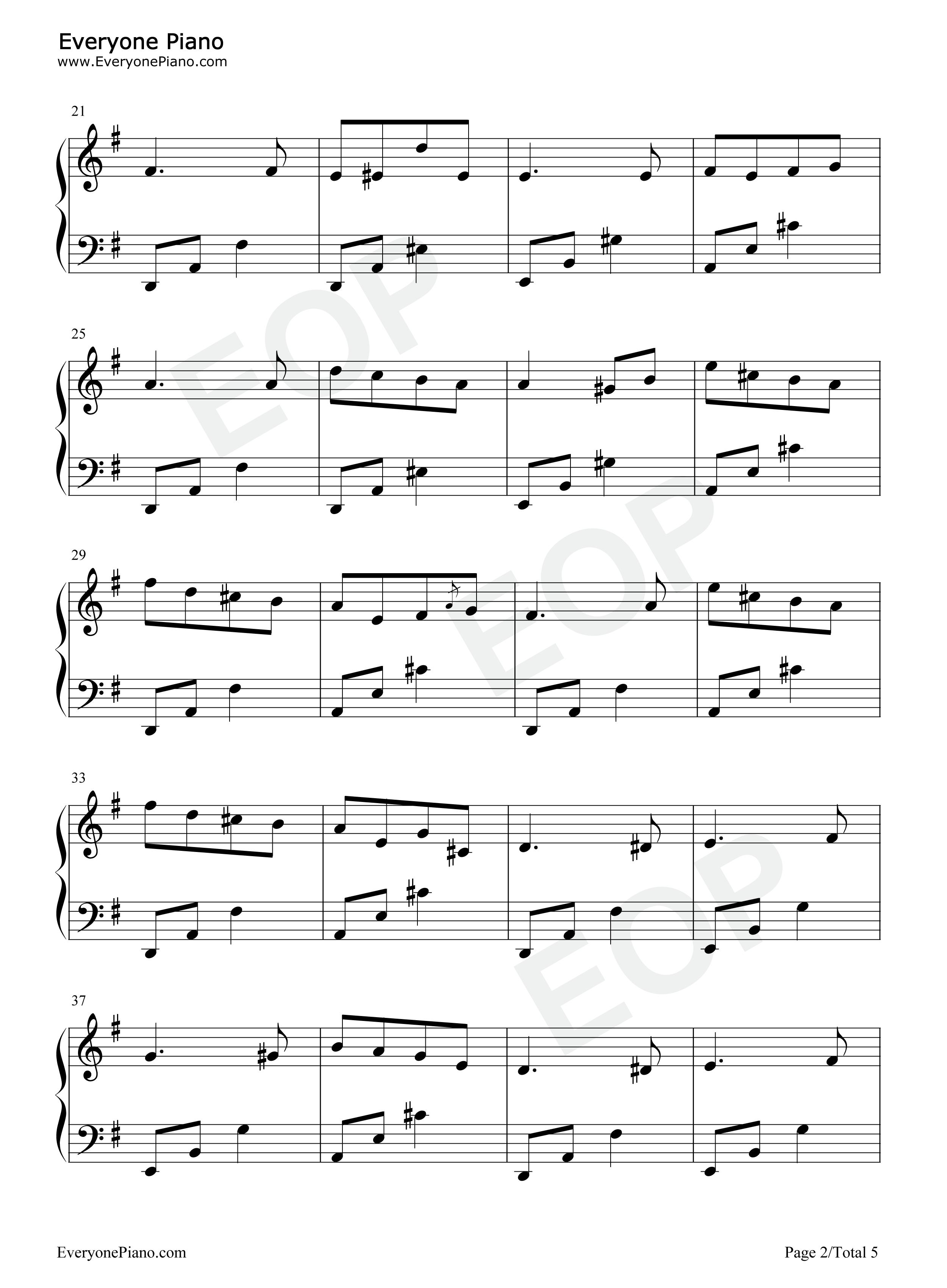 钢琴曲谱 练习曲 春之歌-门德尔松 春之歌-门德尔松五线谱预览2图片