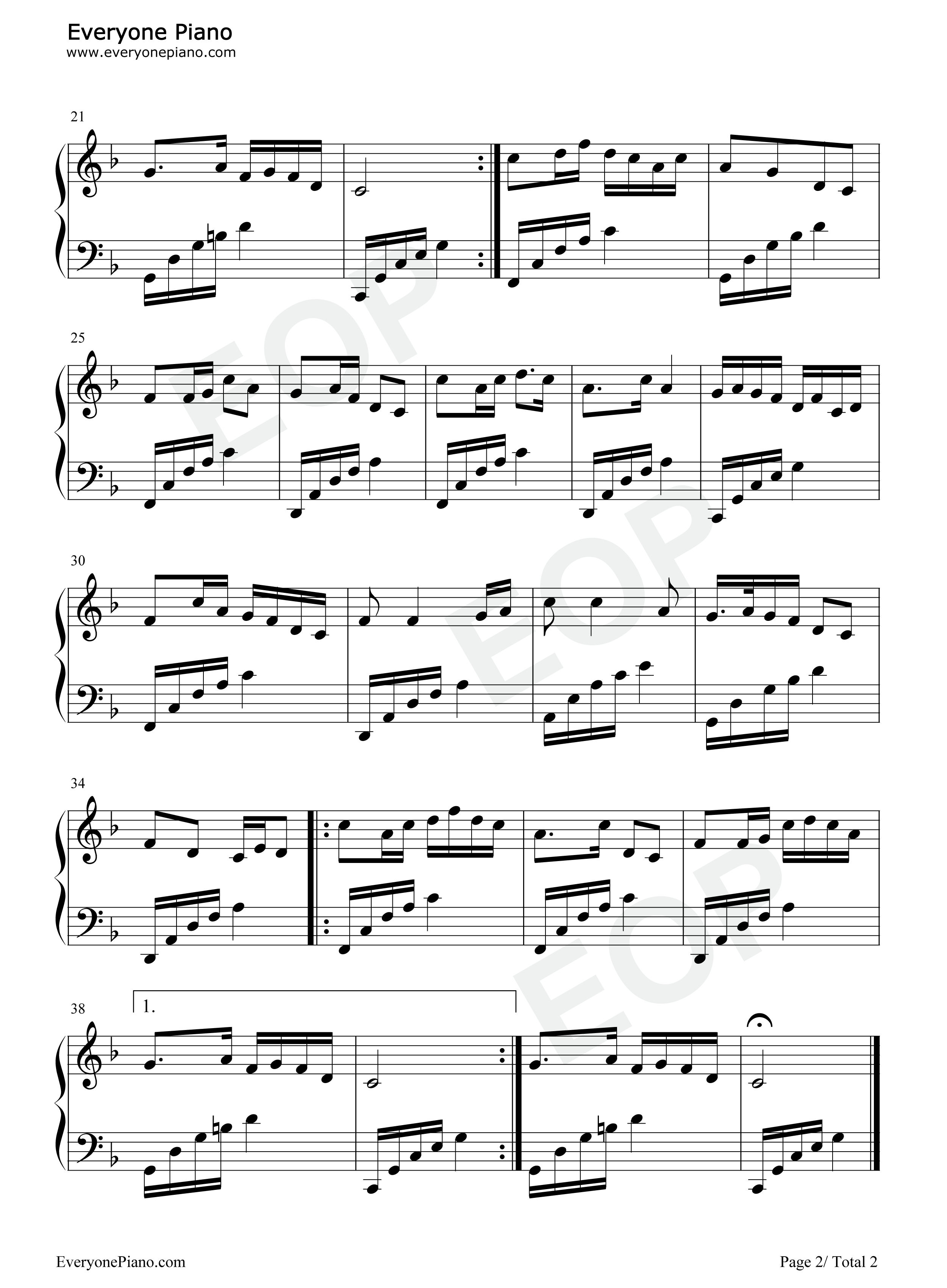 浏阳河五线谱预览2-钢琴谱(五线谱,双手简谱)免费下载