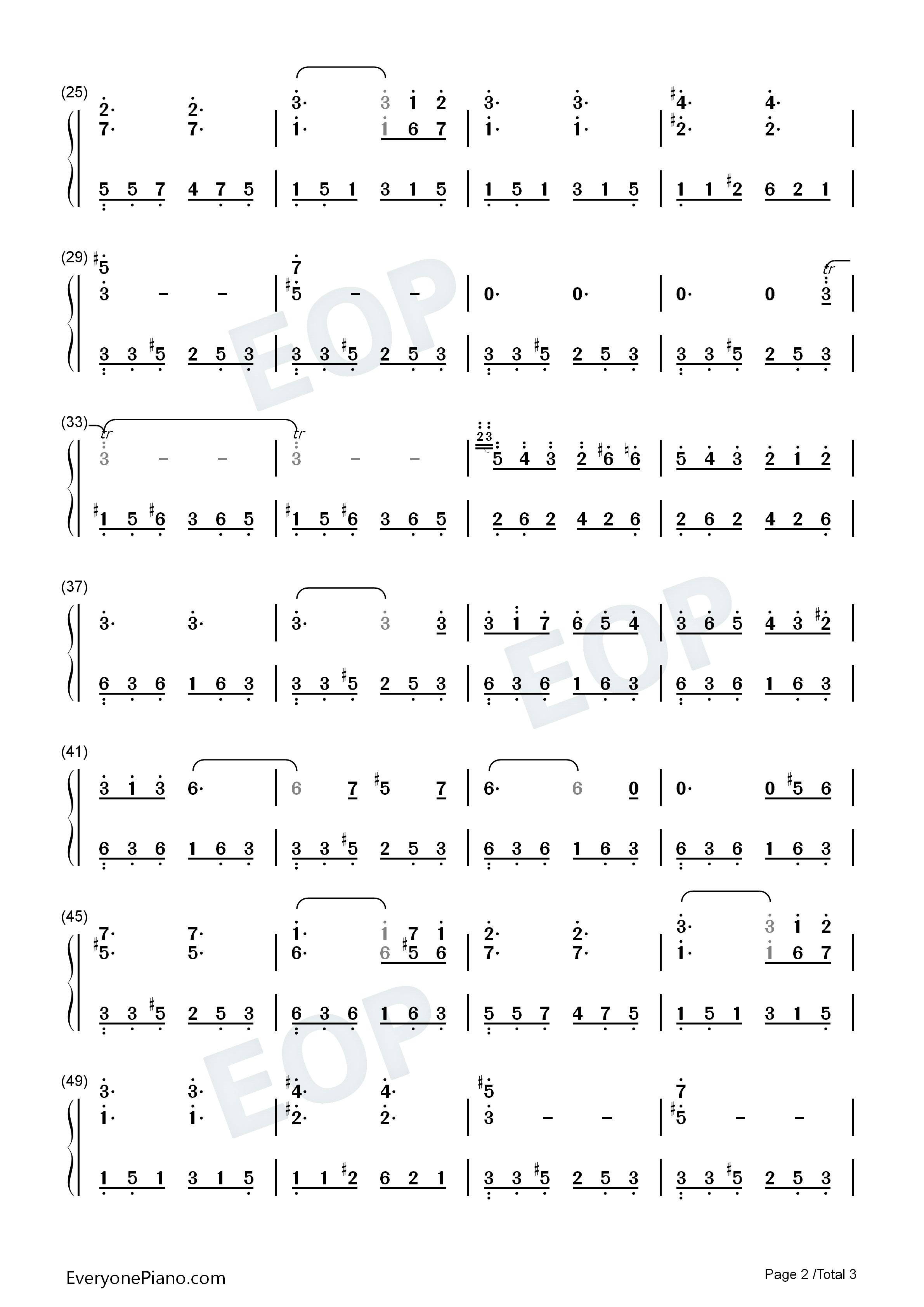 钢琴曲谱 练习曲 威尼斯船歌-门德尔松 威尼斯船歌-门德尔松双手简谱