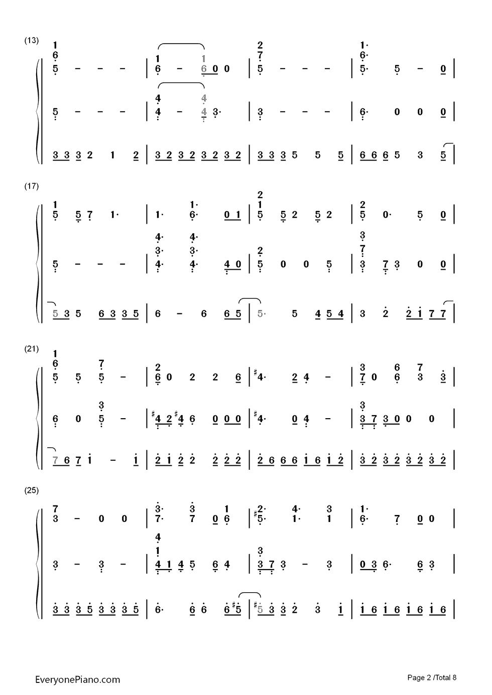 girl-初音ミク双手简谱预览2-钢琴谱(五线谱