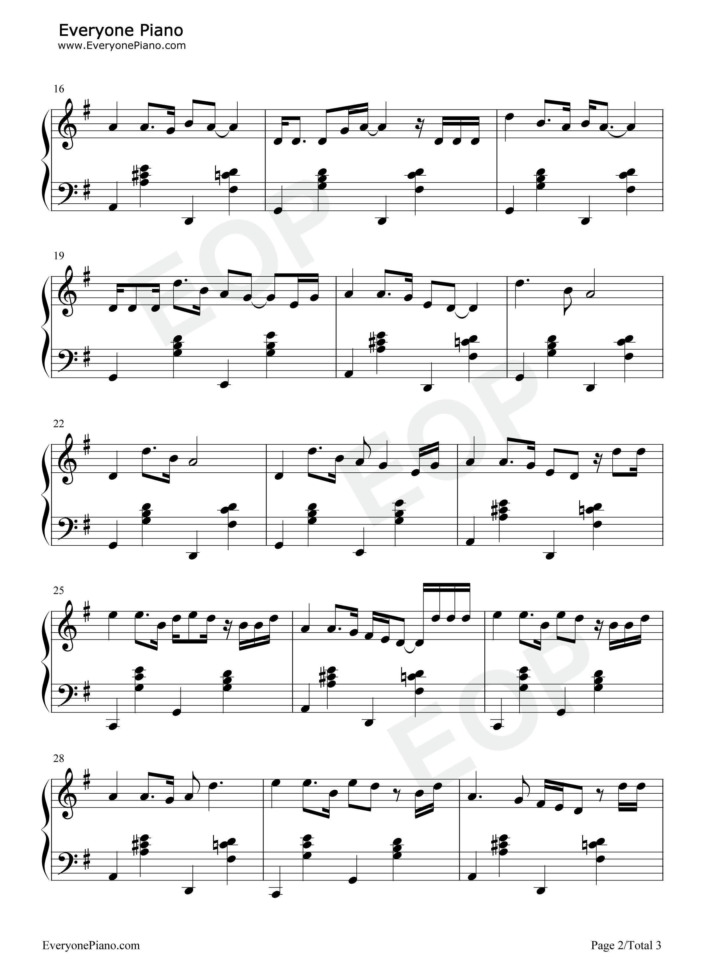弯弯的月亮-刘欢五线谱预览2