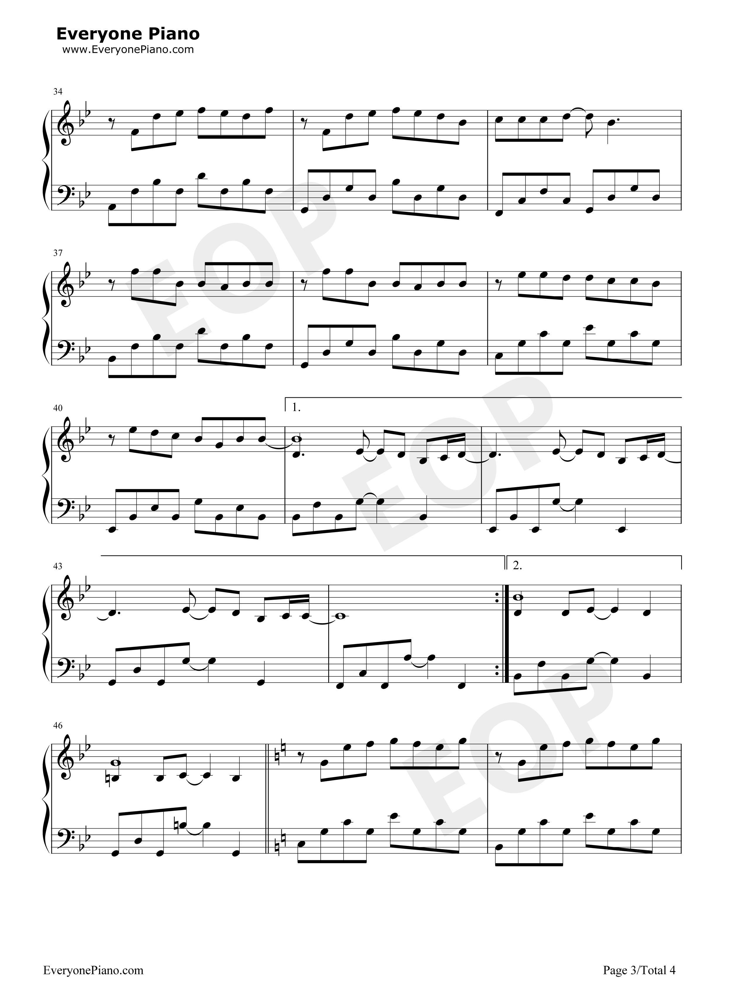 安静-周杰伦五线谱预览3-钢琴谱档(五线谱,双手简谱