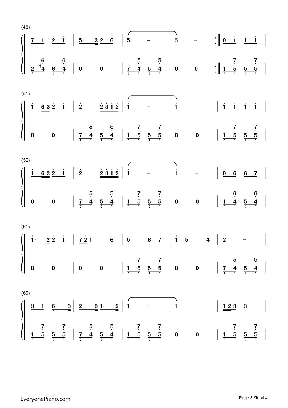 钢琴曲谱 民乐 祝酒歌-李光羲 祝酒歌-李光羲双手简谱预览3