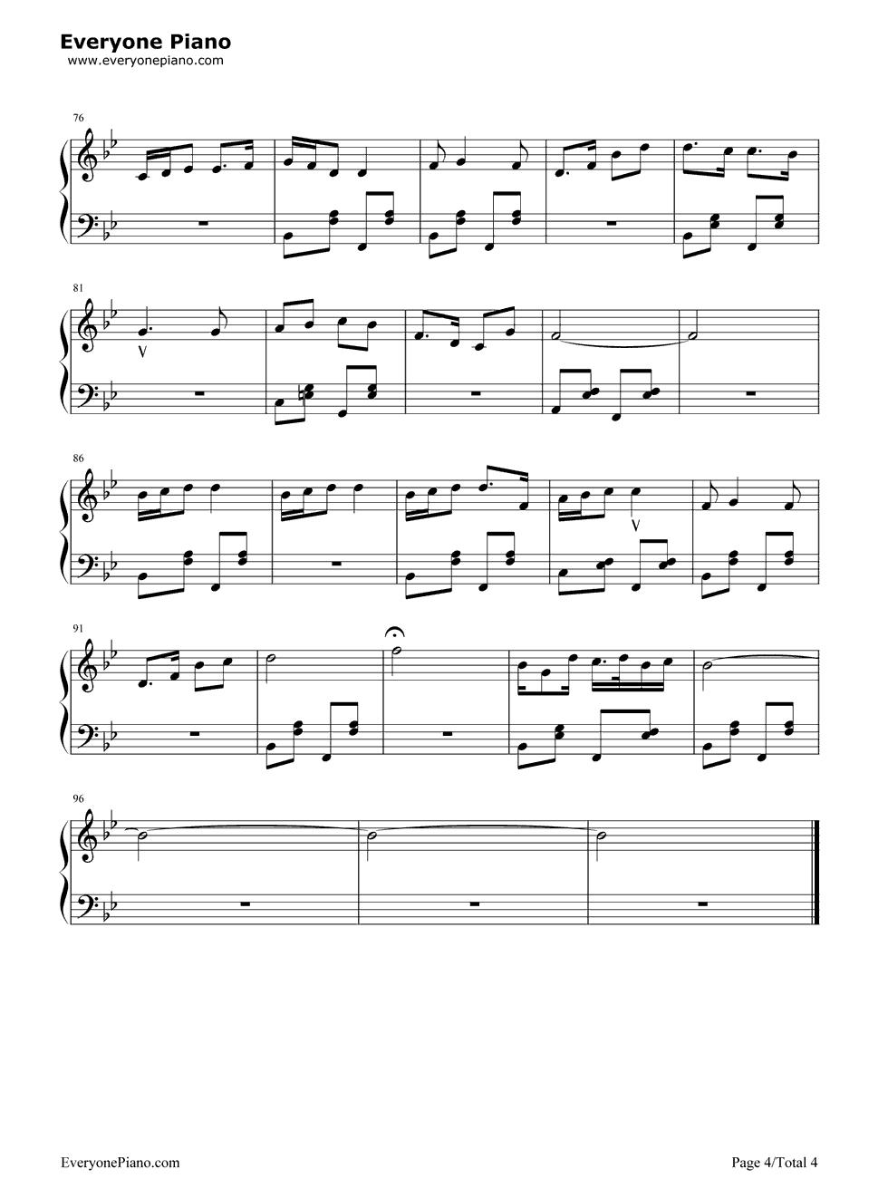 钢琴曲谱 民乐 祝酒歌-李光羲 祝酒歌-李光羲五线谱预览4