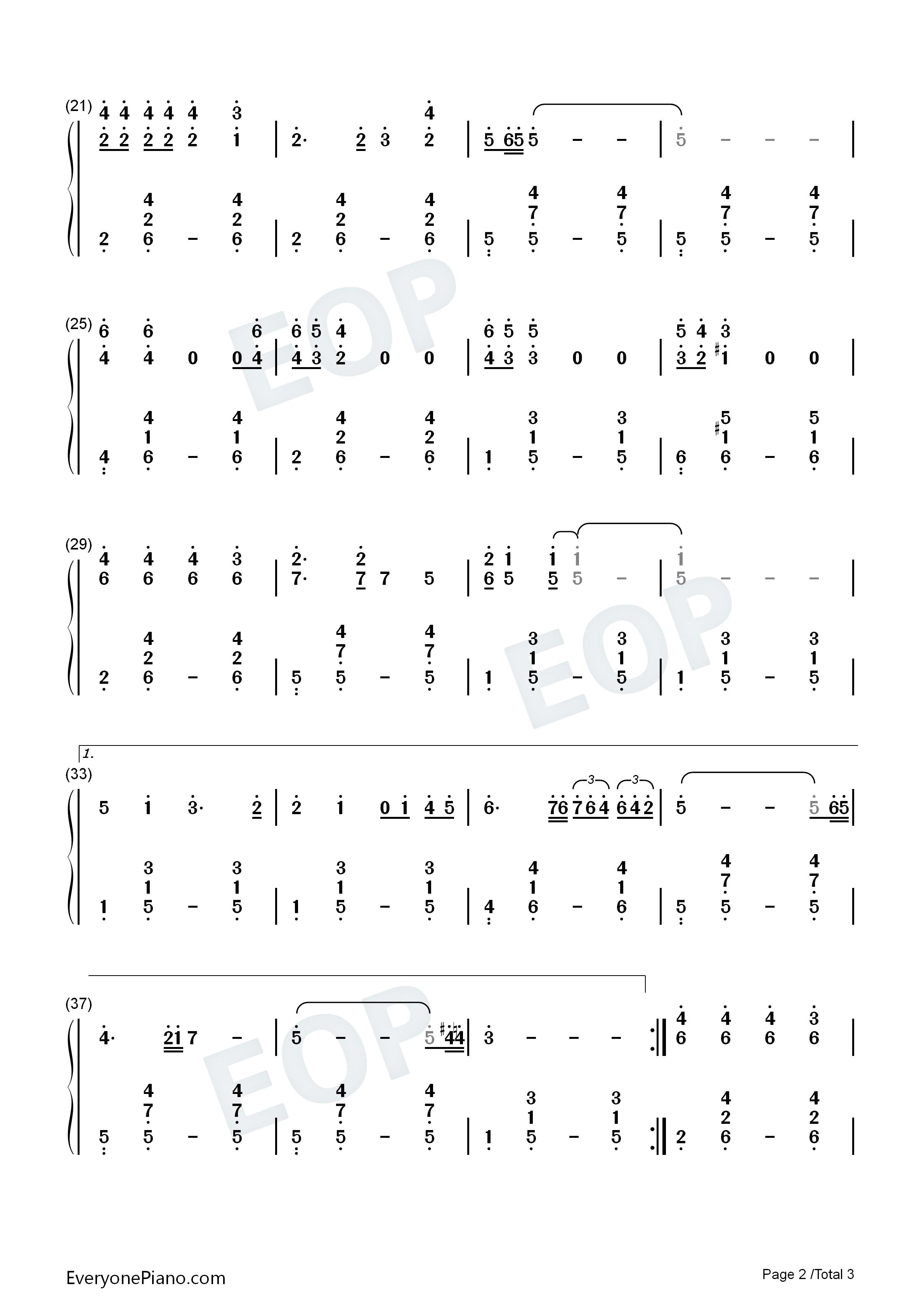 钢琴曲谱 流行 思念-毛阿敏 思念-毛阿敏双手简谱预览2  }  仅供学习