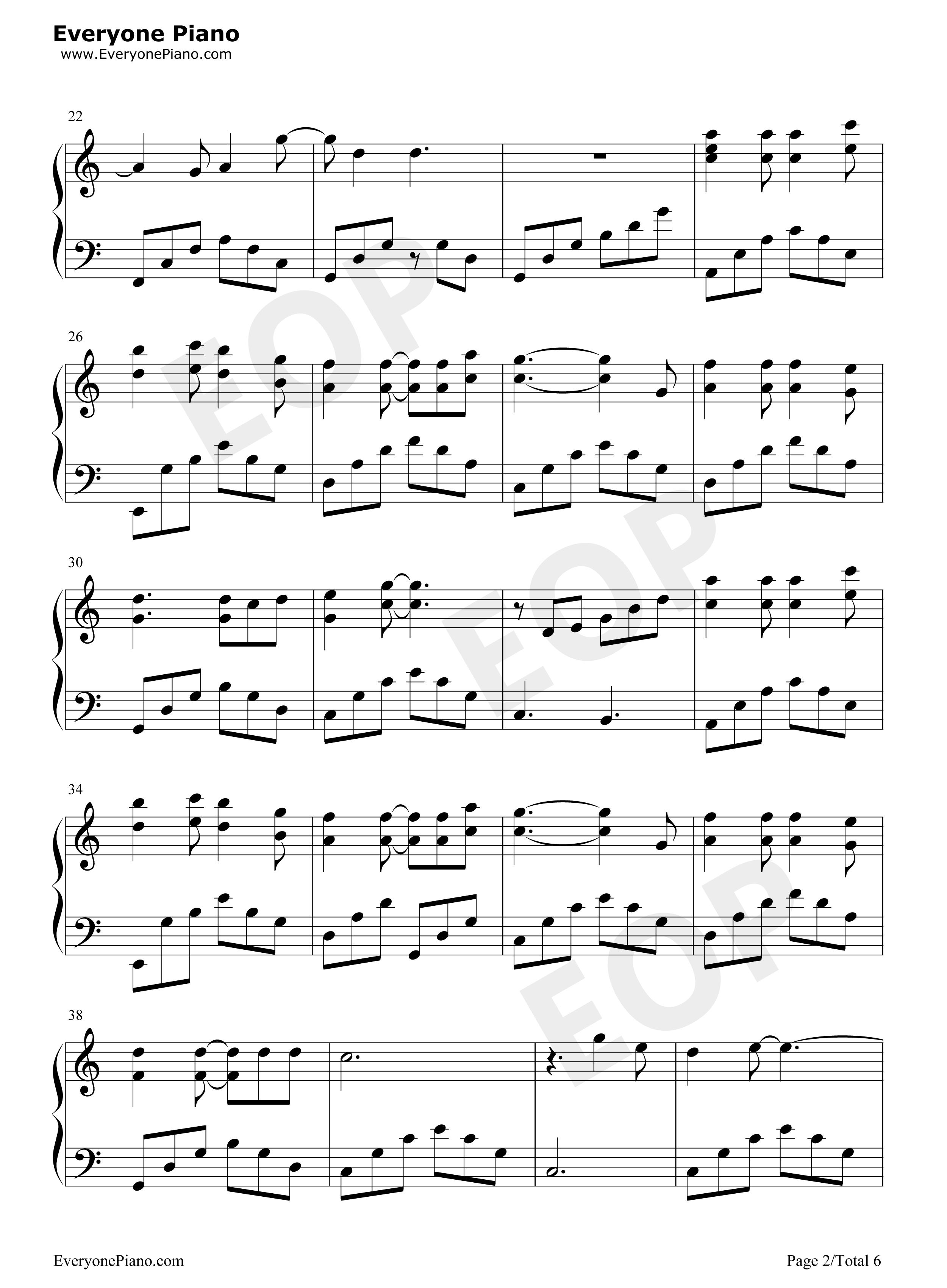 当你老了-莫文蔚五线谱预览2-钢琴谱(五线谱,双手简谱