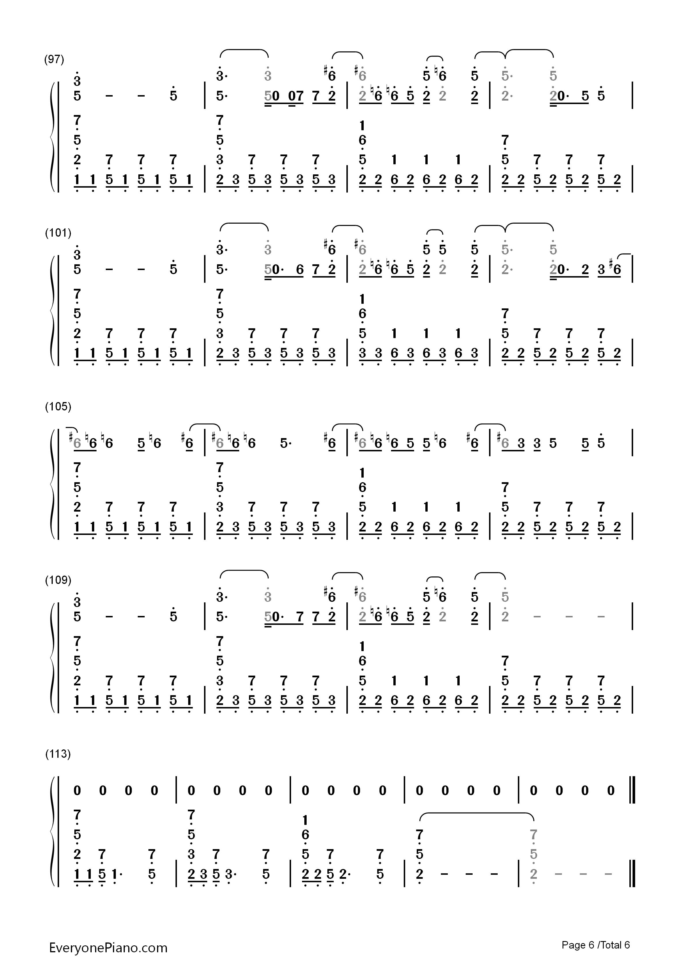 aroon 5双手简谱预览6 钢琴谱档 五线谱 双手简谱 数位谱 Midi PDF
