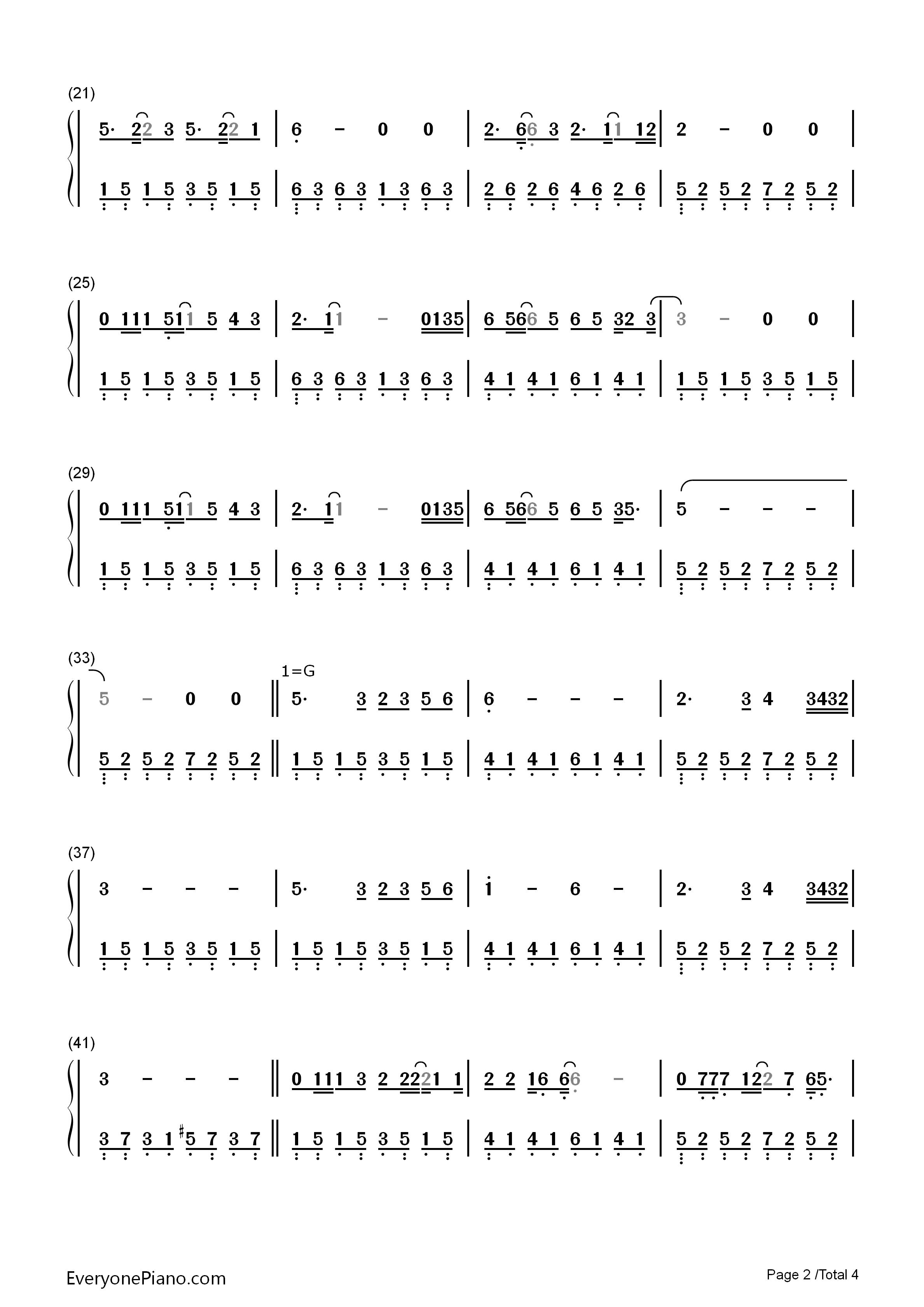 传奇-王菲双手简谱预览2-钢琴谱