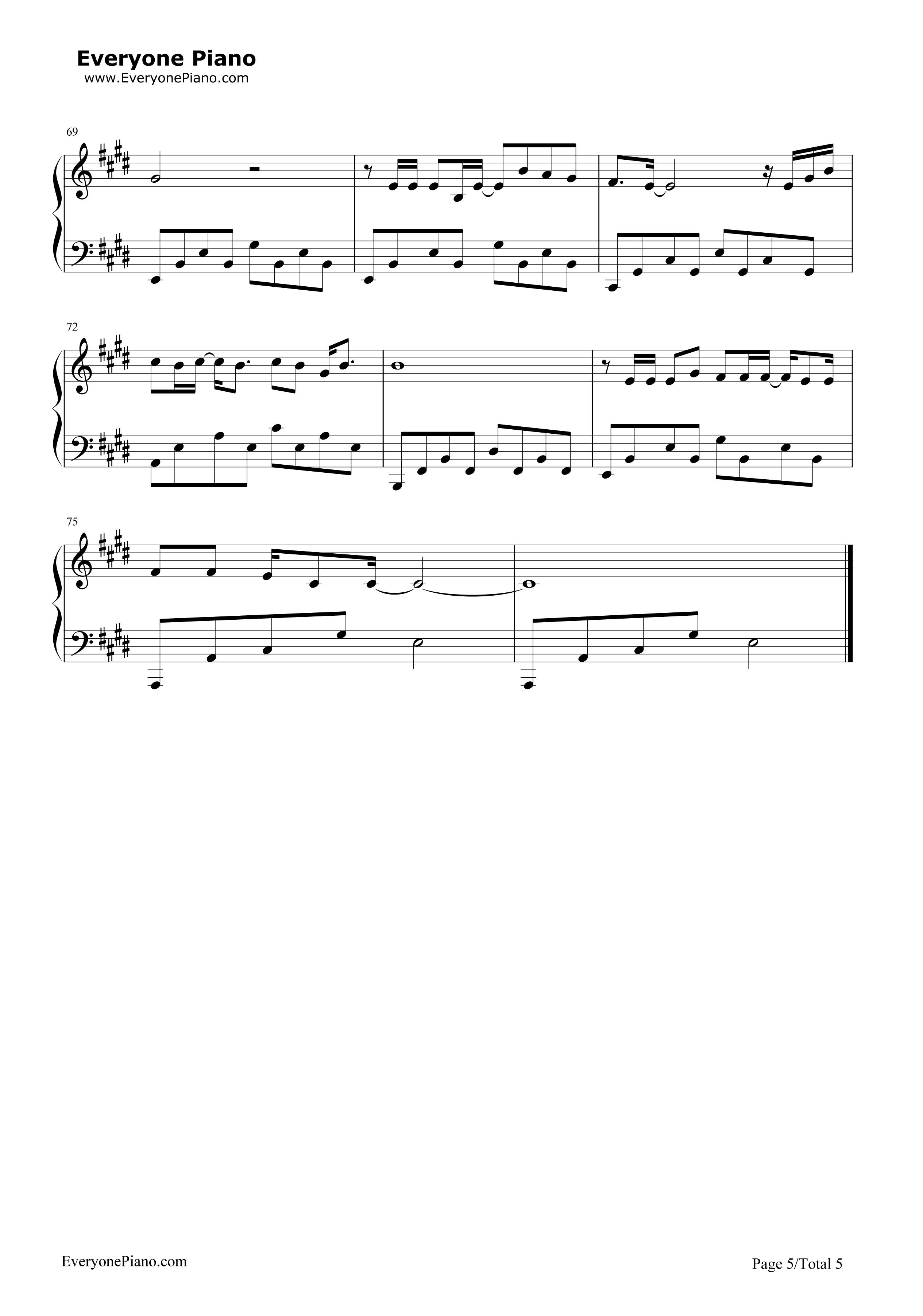 传奇-王菲五线谱预览5-钢琴谱
