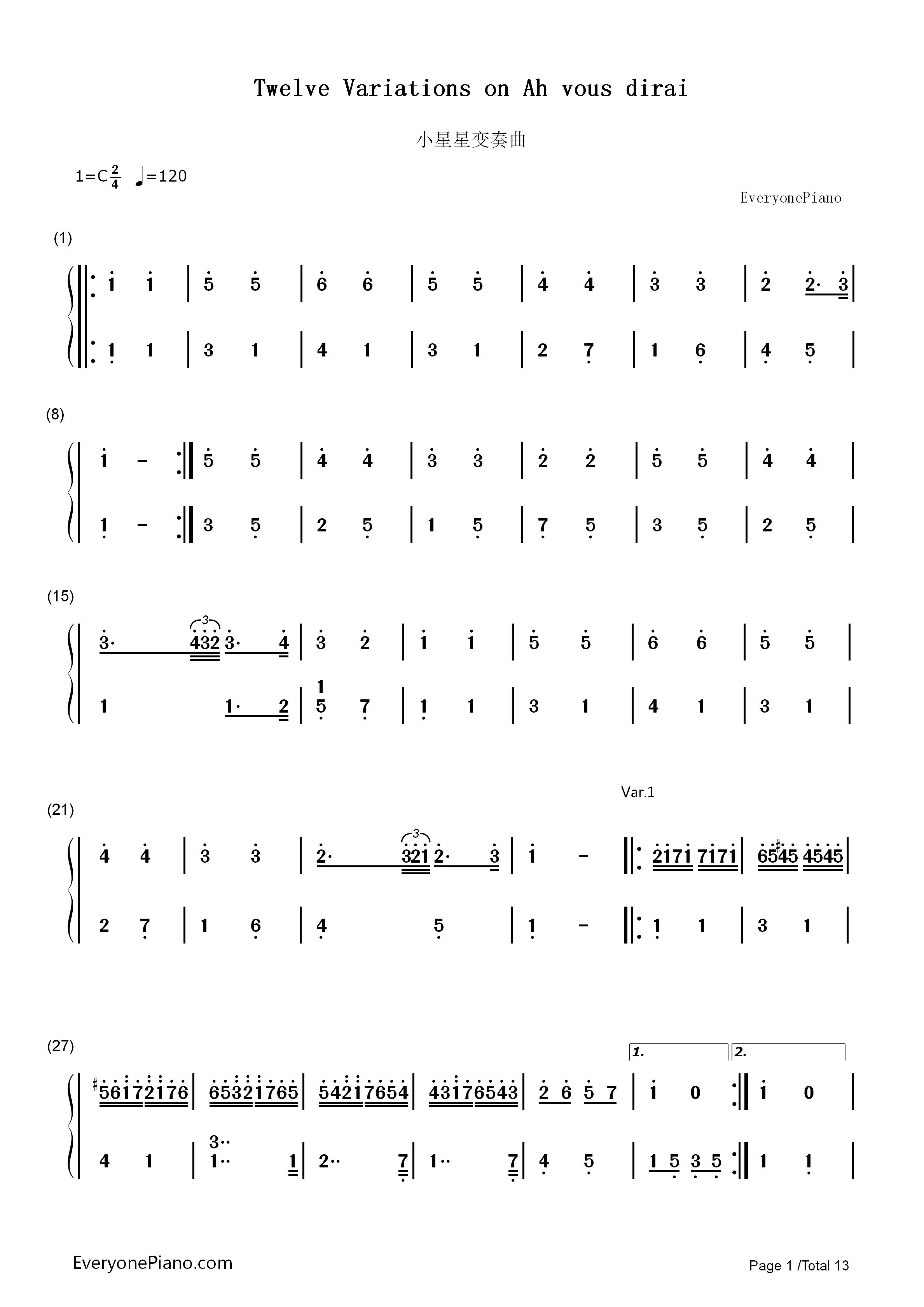 钢琴曲谱 练习曲 小星星变奏曲-莫扎特 小星星变奏曲-莫扎特双手简谱图片