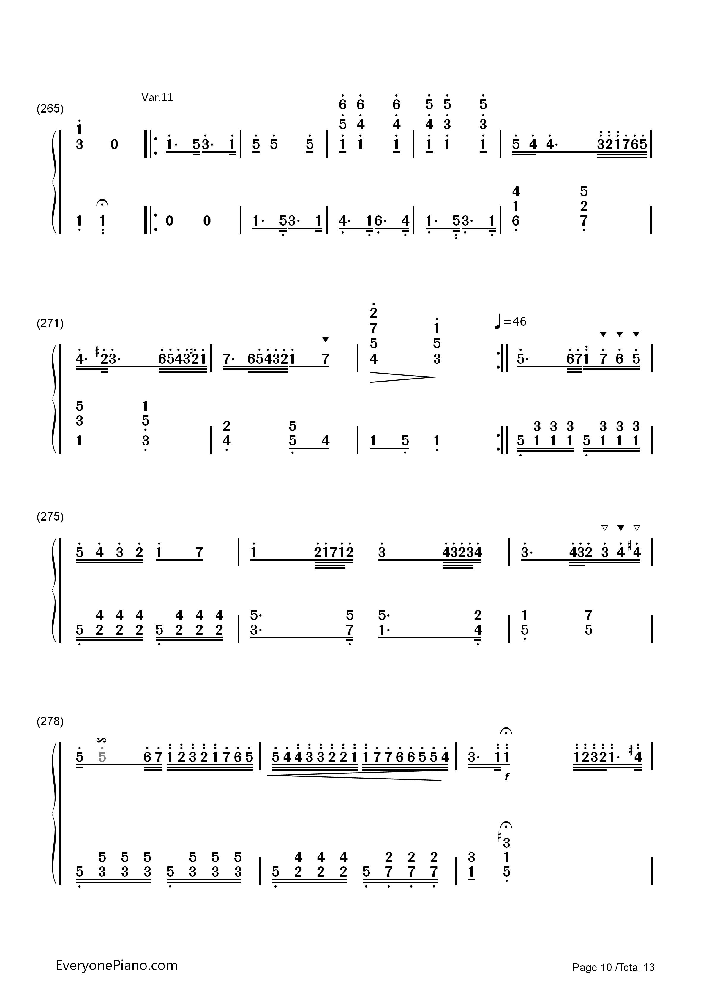小星星变奏曲-莫扎特双手简谱预览10