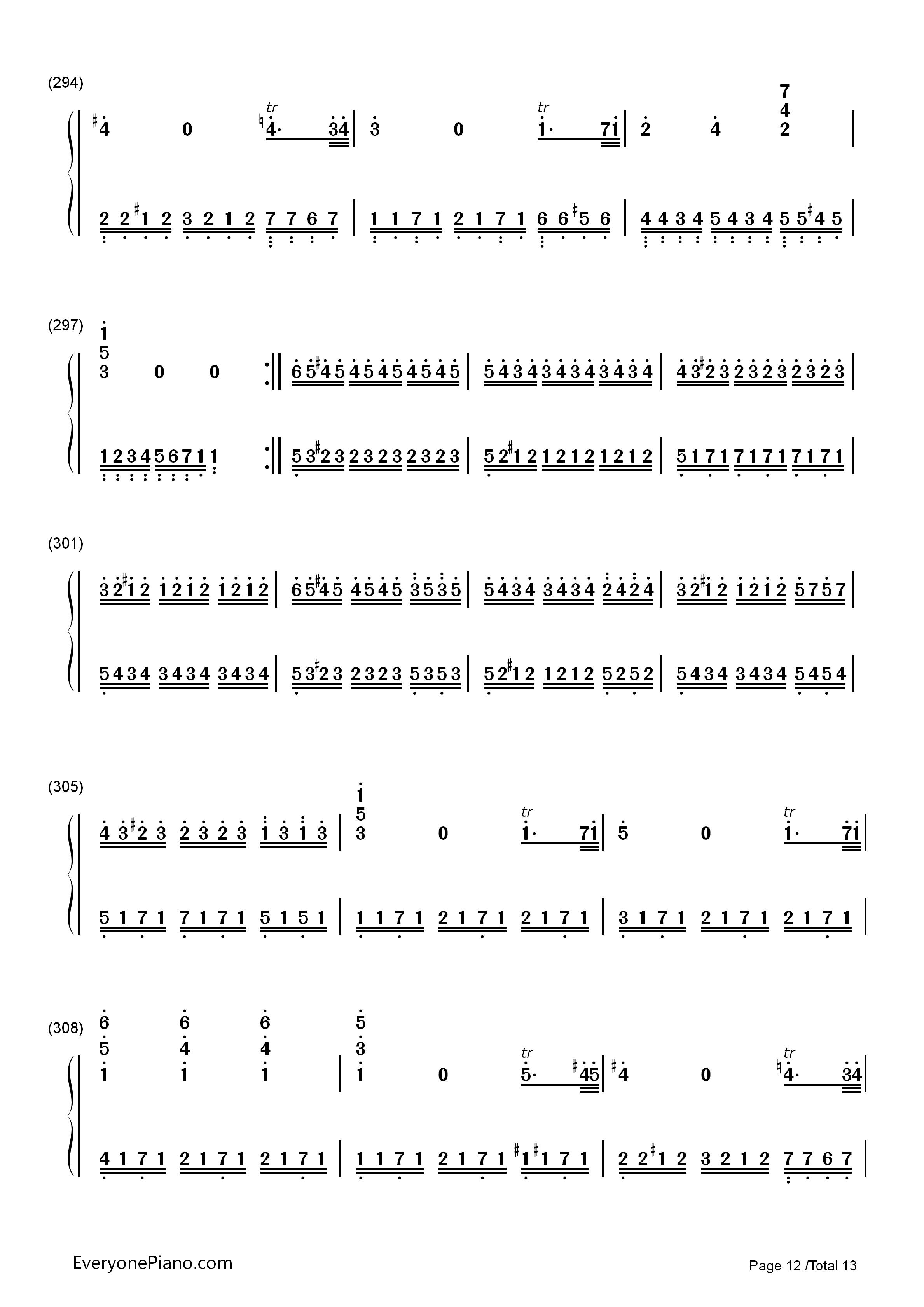 小星星变奏曲-莫扎特双手简谱预览12