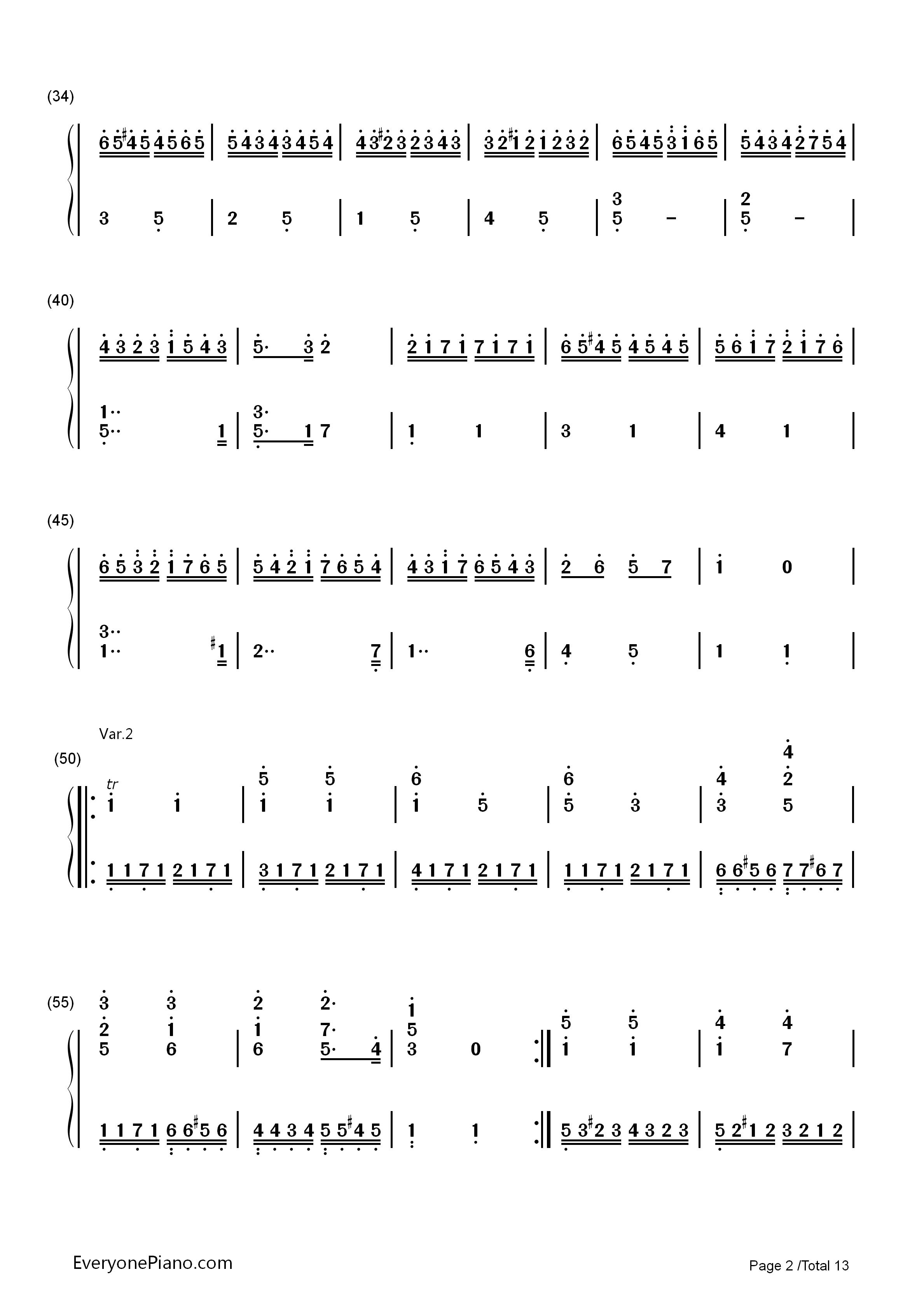 小星星变奏曲-莫扎特双手简谱预览2-钢琴谱档(五线谱