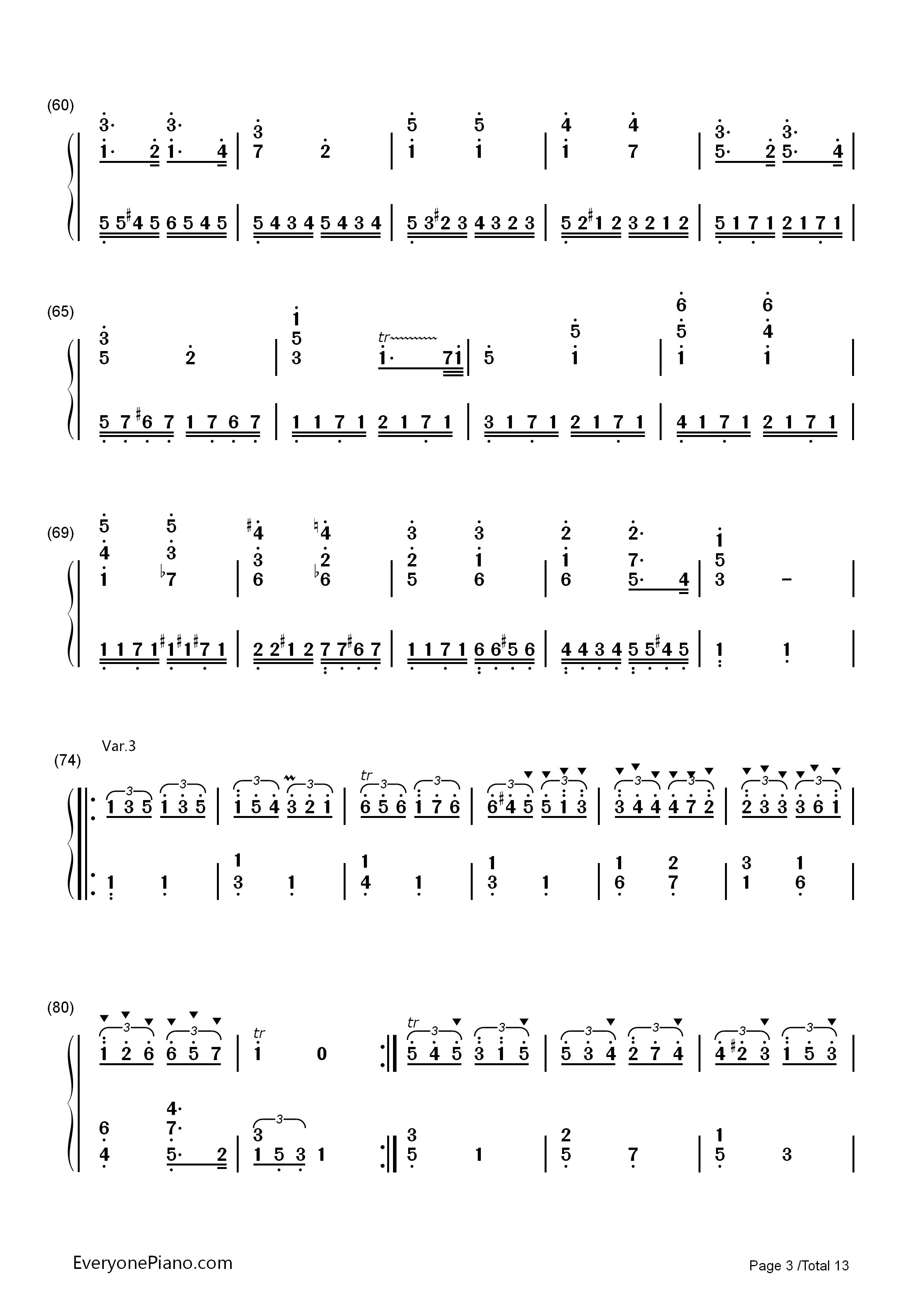 钢琴曲谱 练习曲 小星星变奏曲-莫扎特