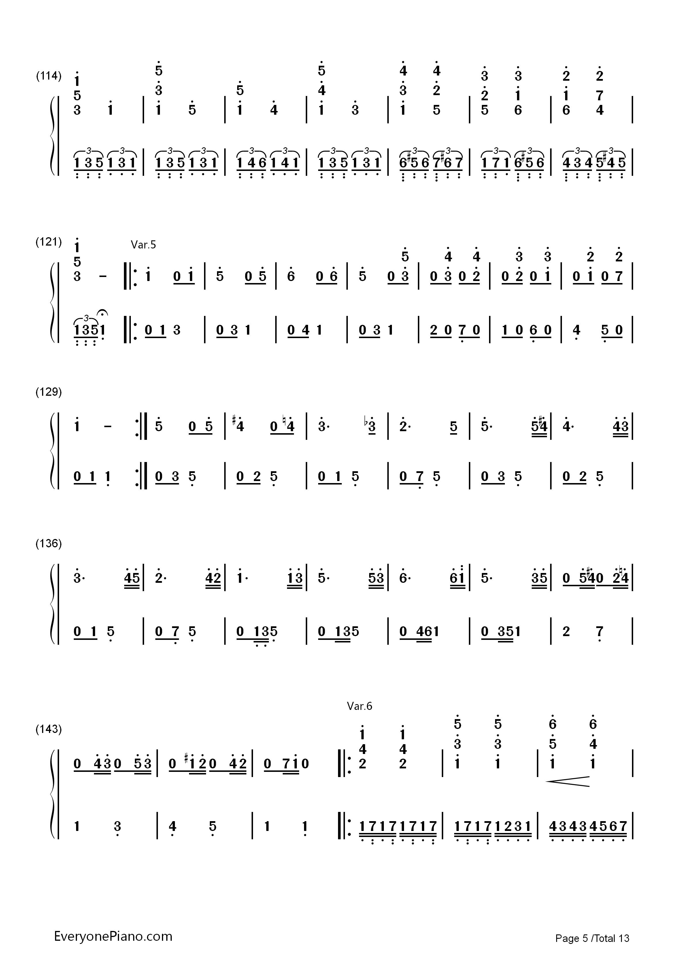 小星星变奏曲-莫扎特双手简谱预览5