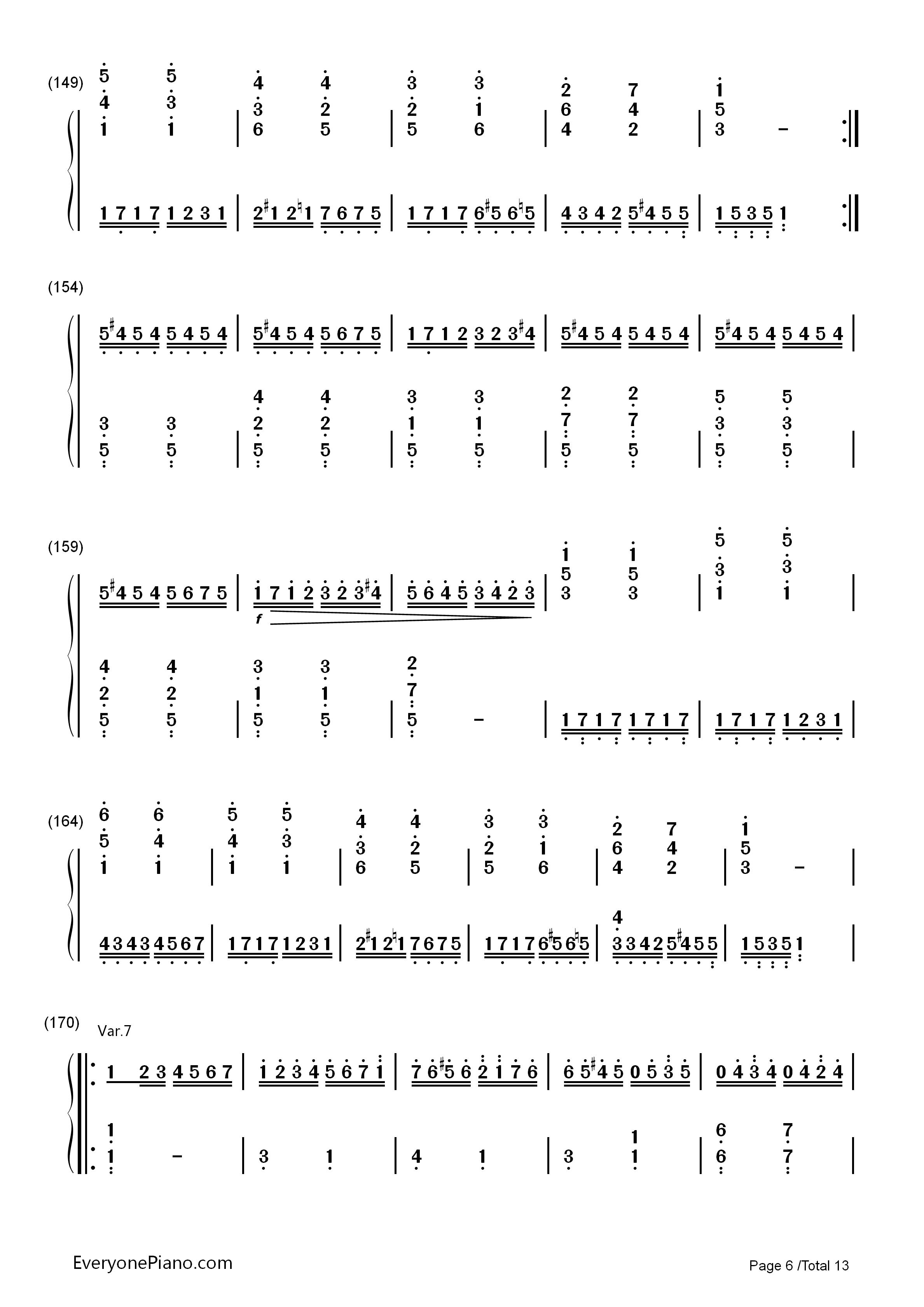 钢琴曲谱 练习曲 小星星变奏曲-莫扎特 小星星变奏曲-莫扎特双手简谱
