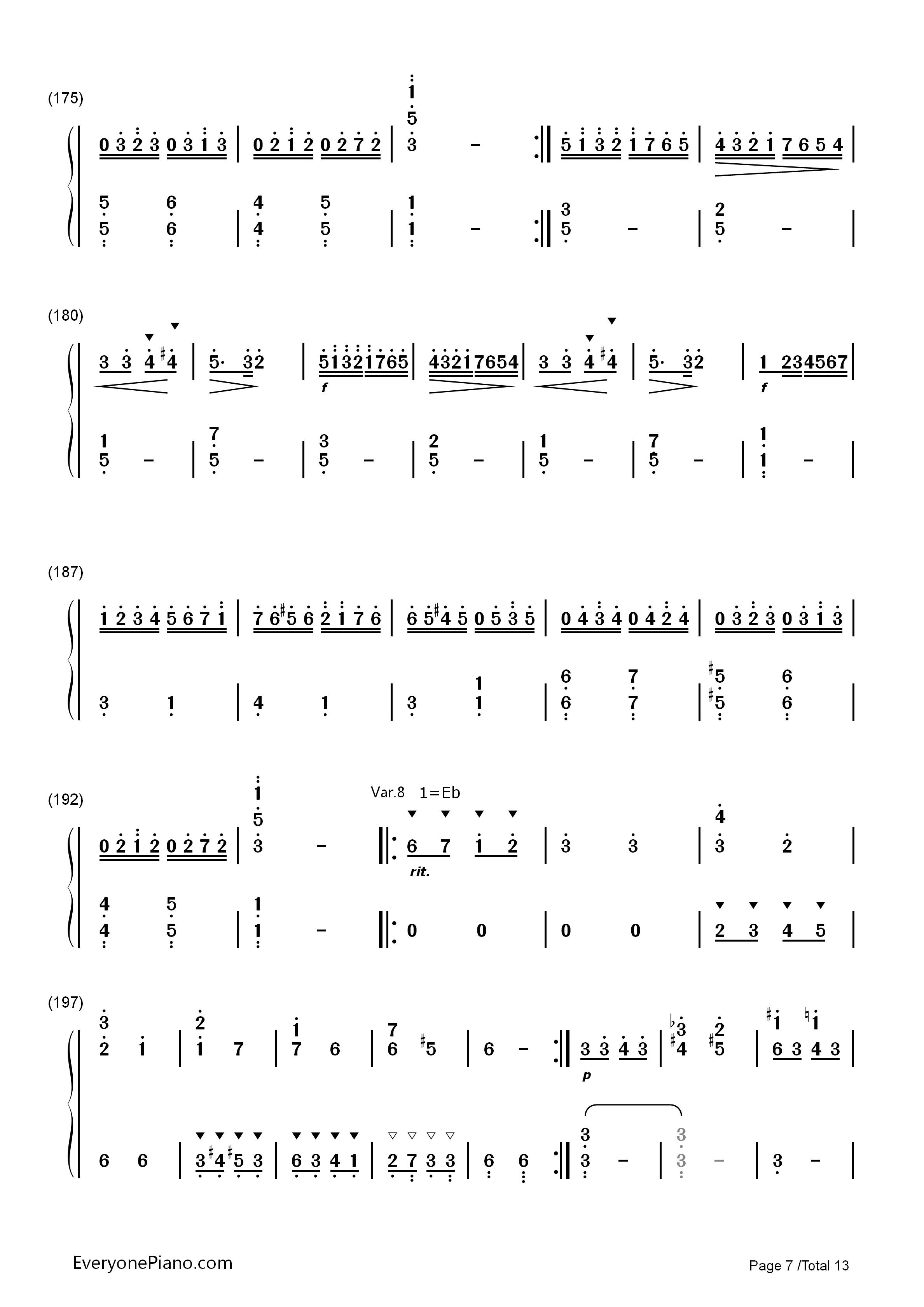 小星星变奏曲-莫扎特双手简谱预览