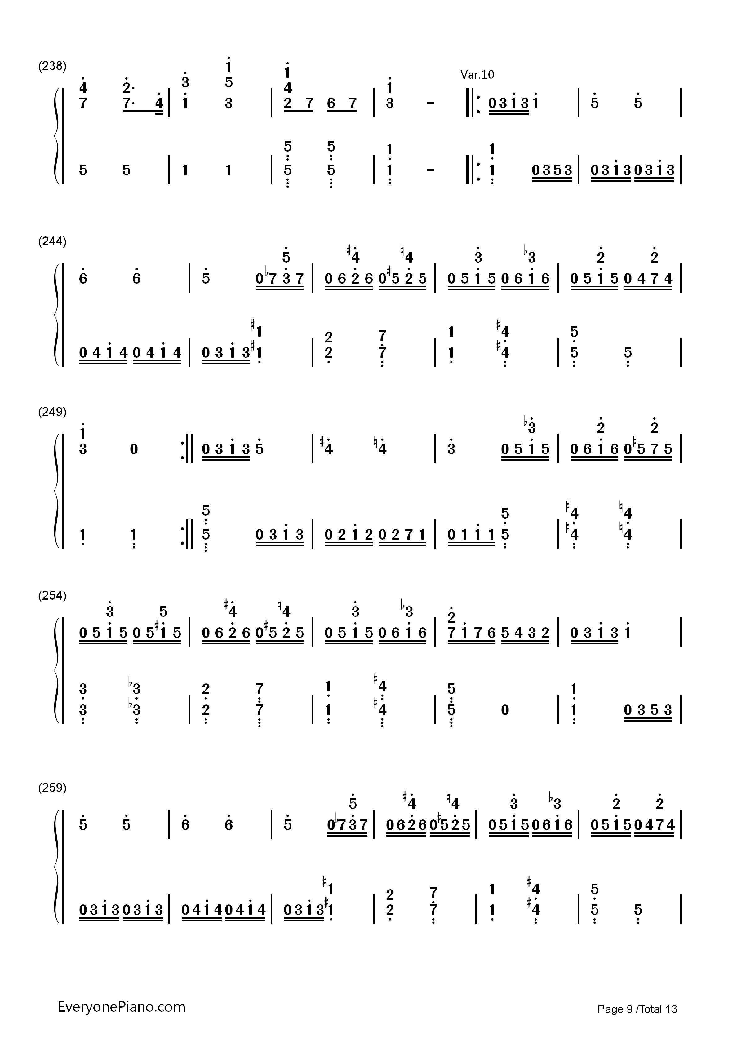 小星星变奏曲-莫扎特双手简谱预览9-钢琴谱档(五线谱