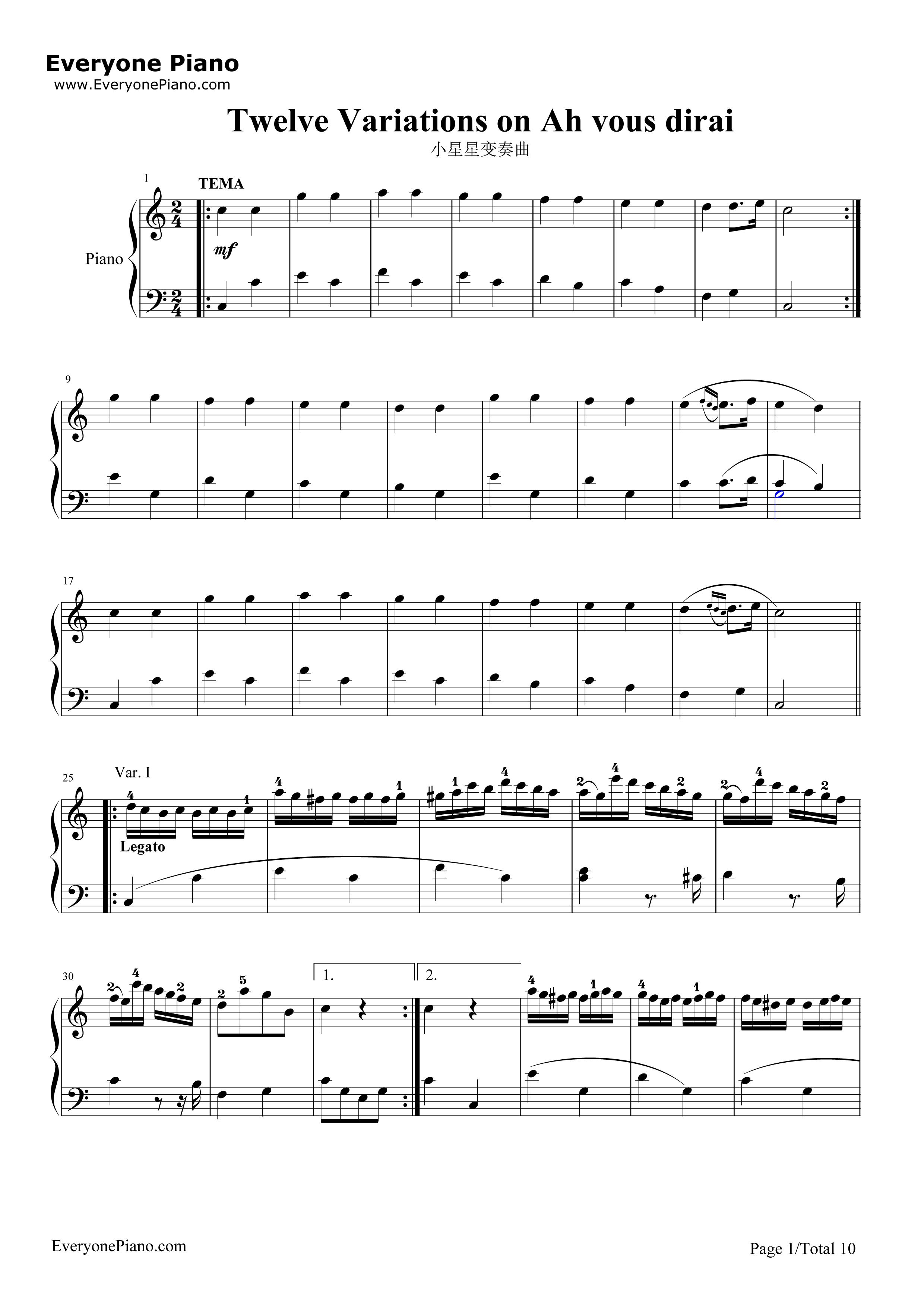 小星星变奏曲-莫扎特五线谱预览1-钢琴谱(五线谱,双手