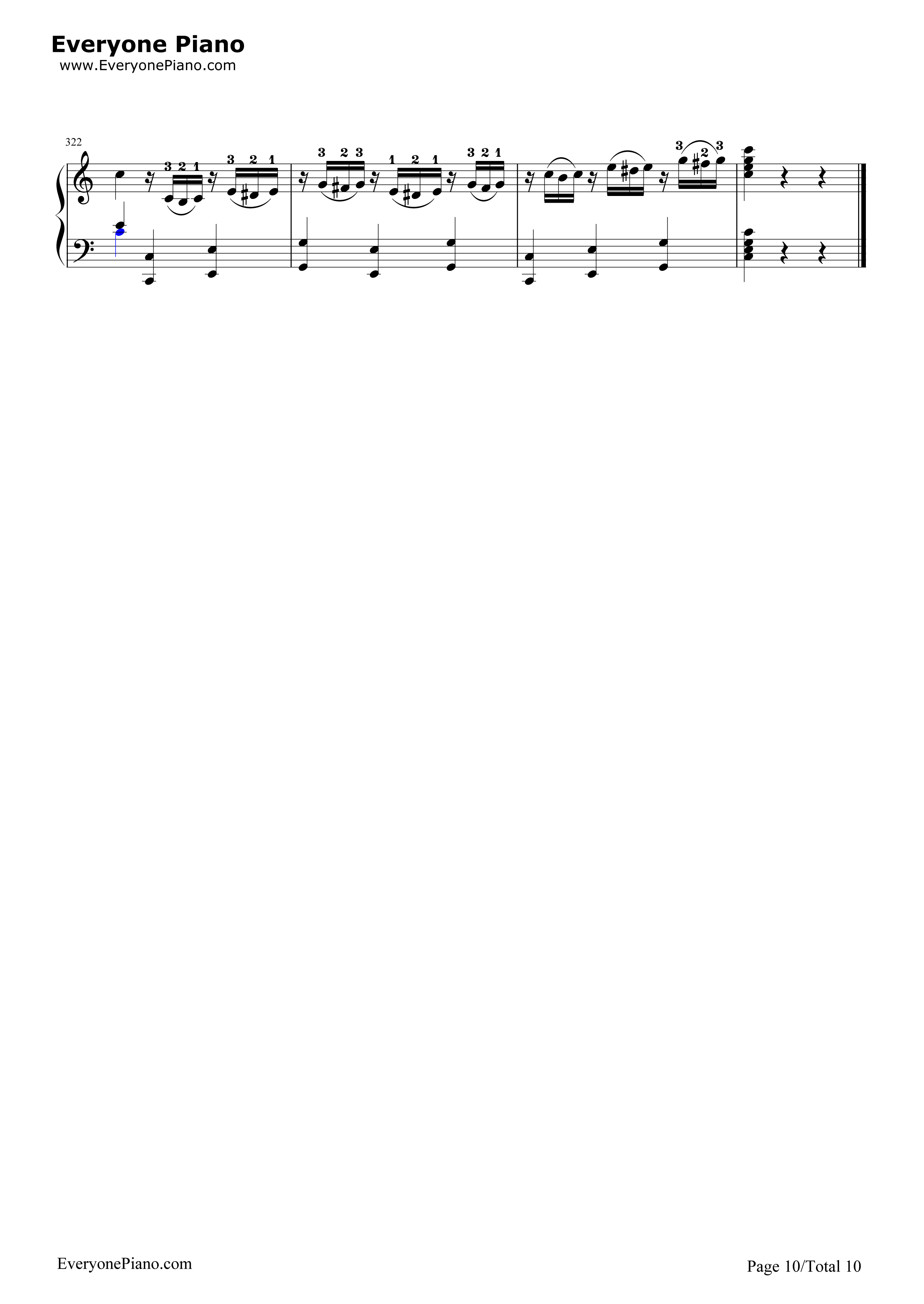 小星星变奏曲-莫扎特五线谱预览10-钢琴谱(五线谱,)图片