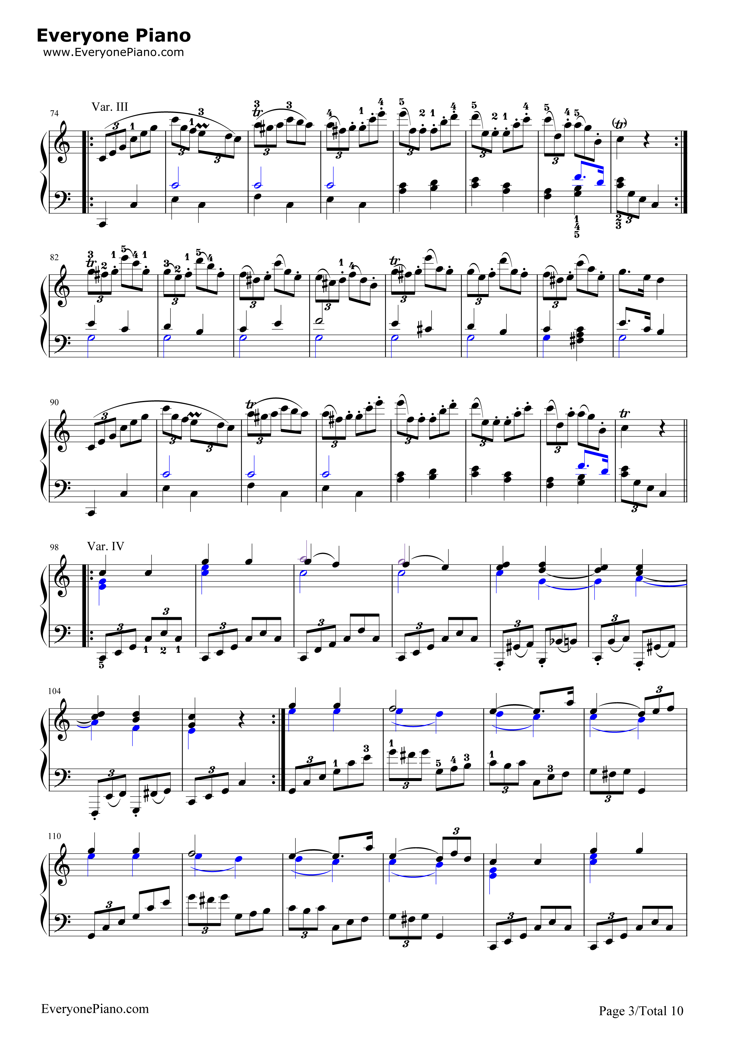 钢琴曲谱 练习曲 小星星变奏曲-莫扎特 小星星变奏曲-莫扎特五线谱