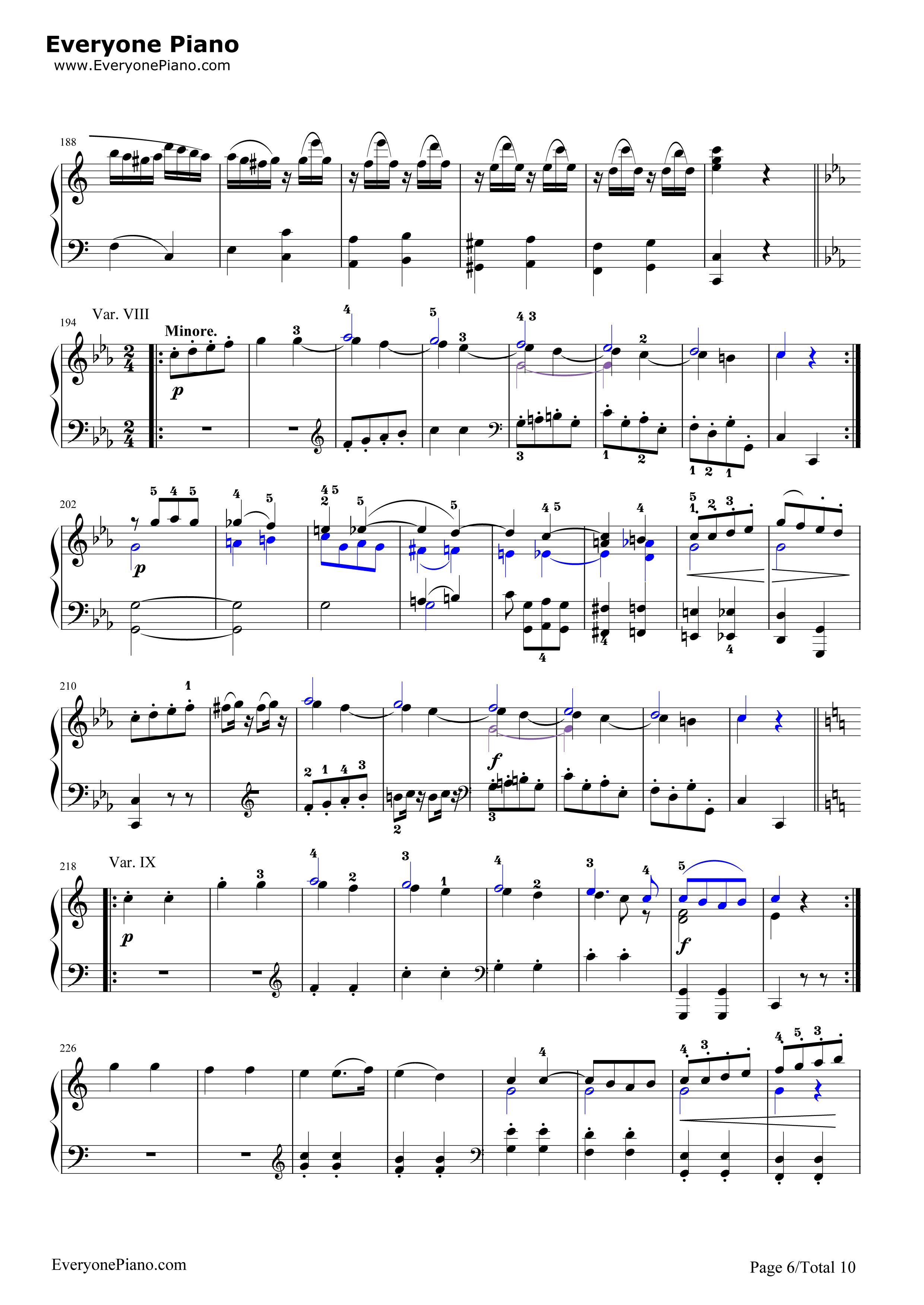 小星星变奏曲-莫扎特五线谱预览6-钢琴谱(五线谱,双手