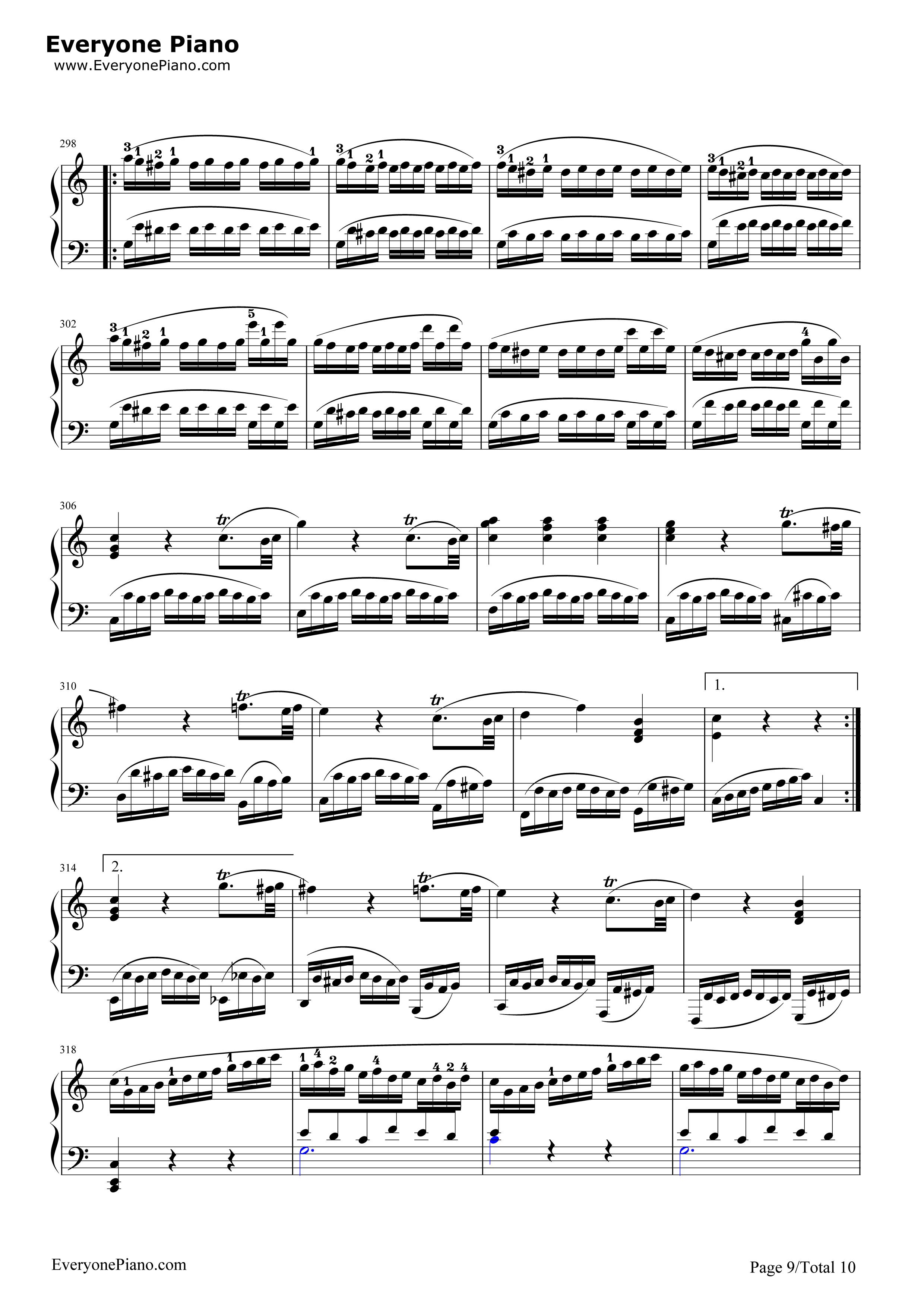 小星星变奏曲-莫扎特五线谱预览9-钢琴谱(五线谱,双手