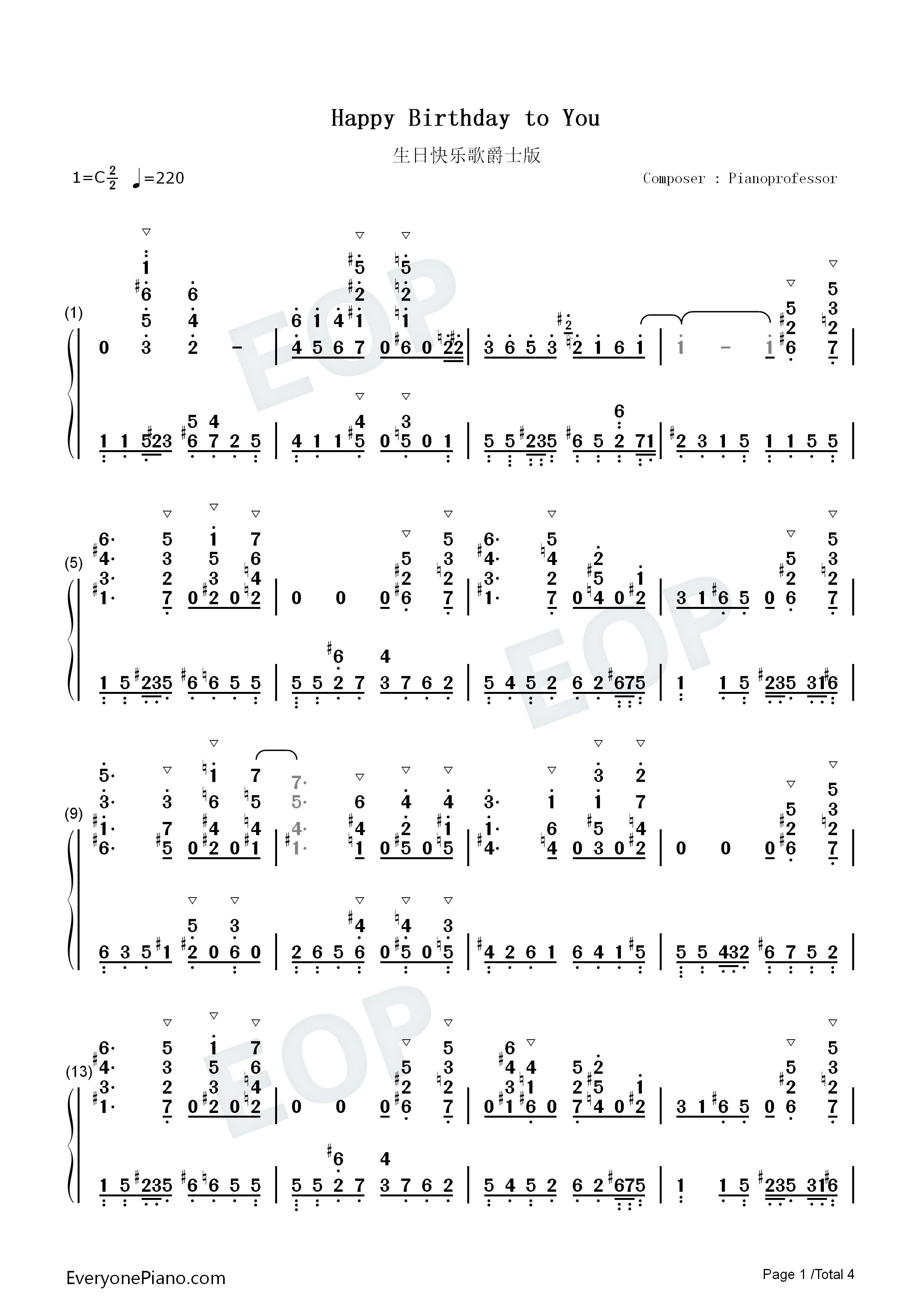 生日快乐歌-爵士版双手简谱预览1
