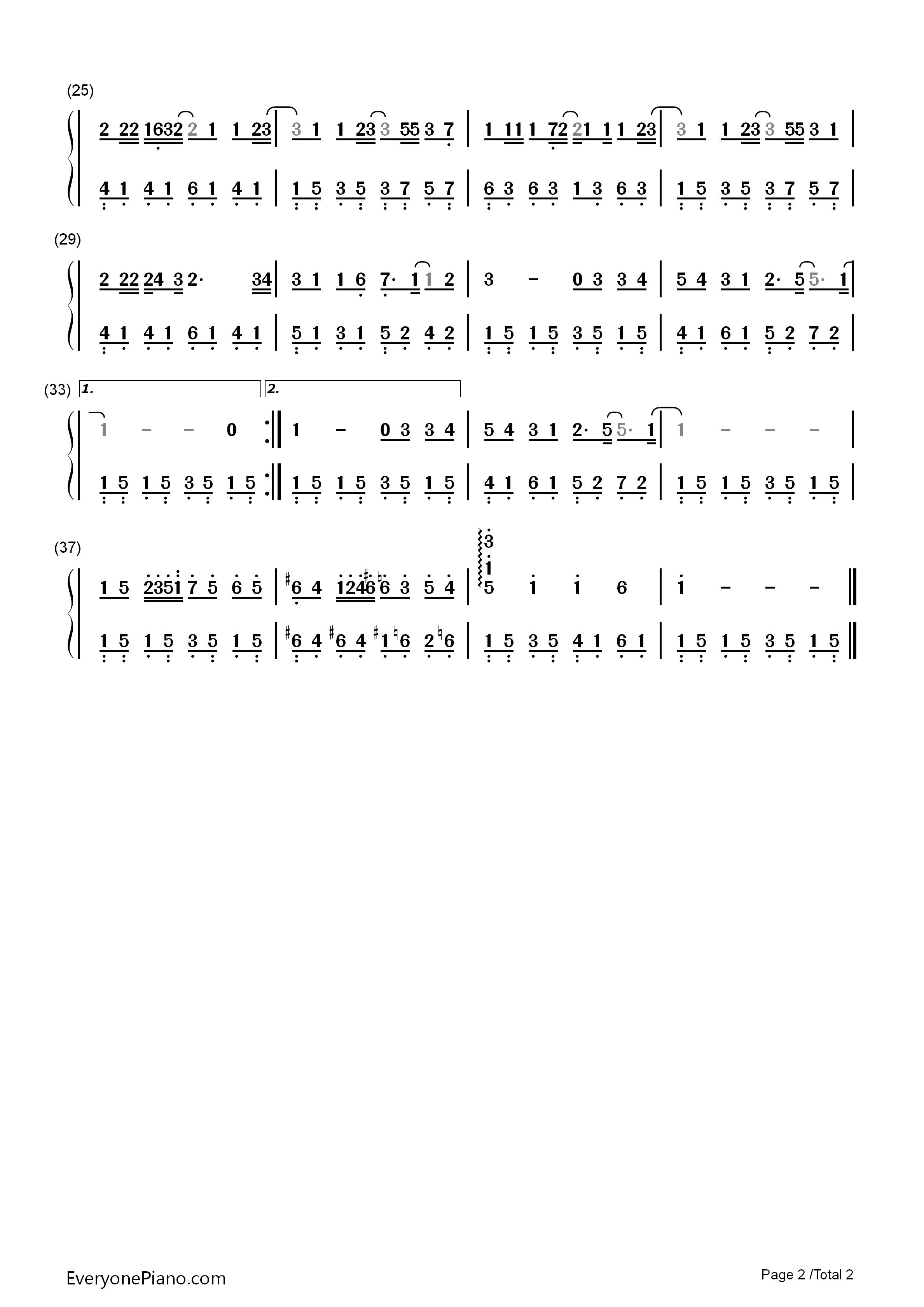 分手快乐-梁静茹双手简谱预览2-钢琴谱(五线谱,双手)
