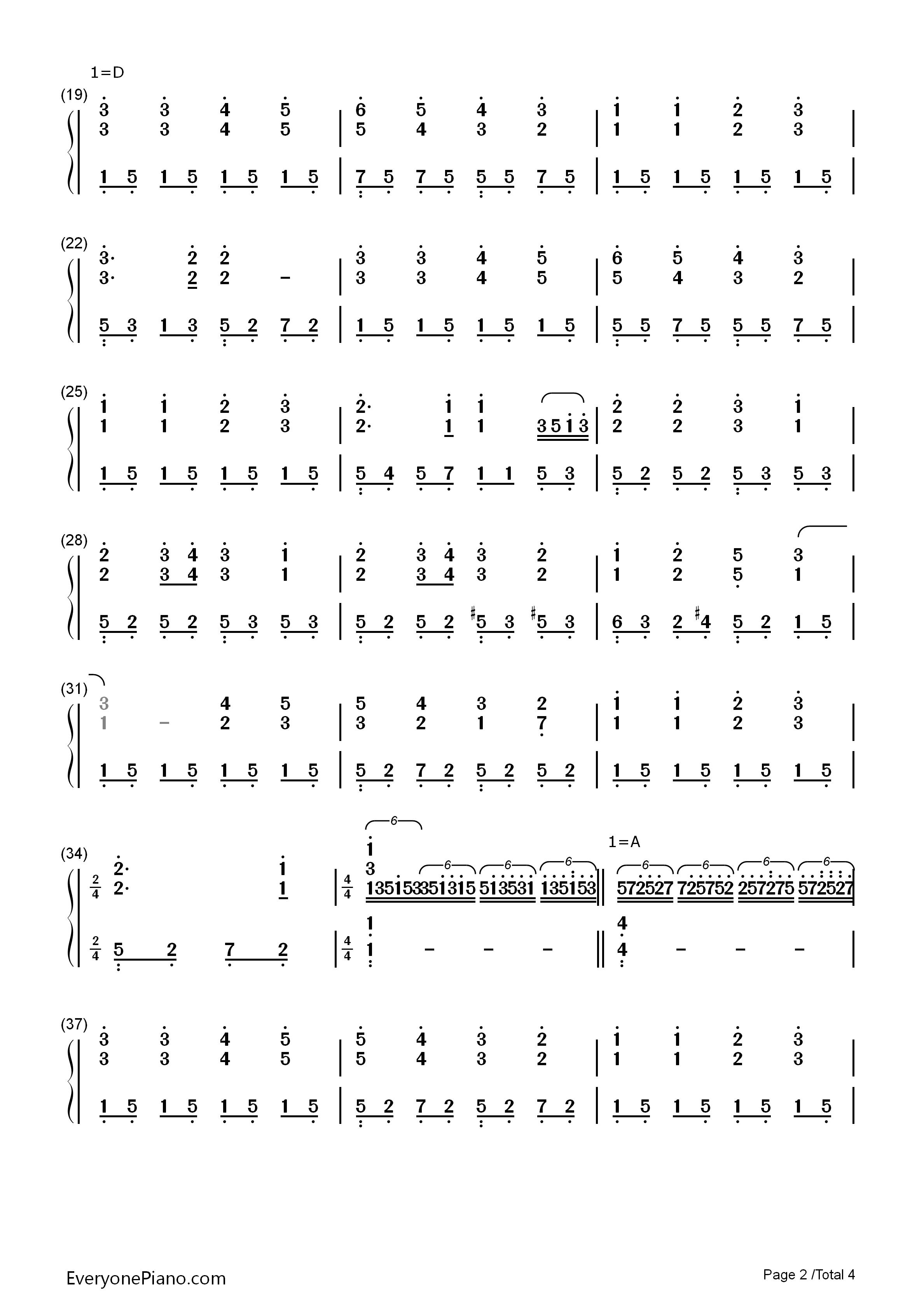 欢乐颂-完整版双手简谱预览2-钢琴谱(五线谱,双手简谱
