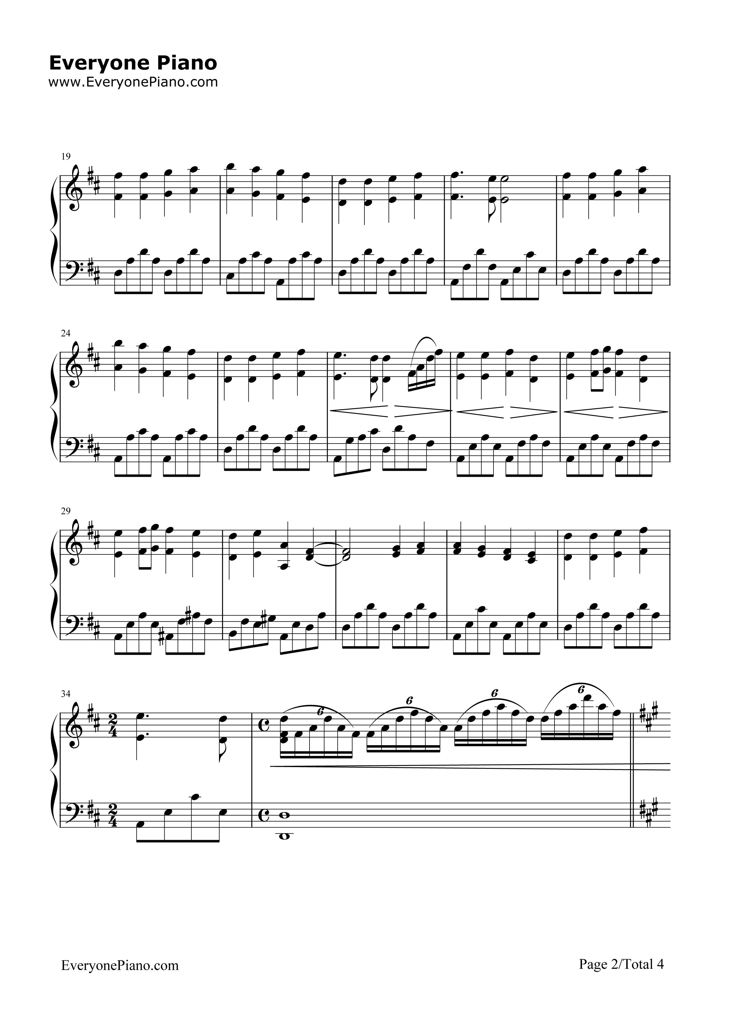 欢乐颂-完整版五线谱预览2-钢琴谱档(五线谱,双手简谱