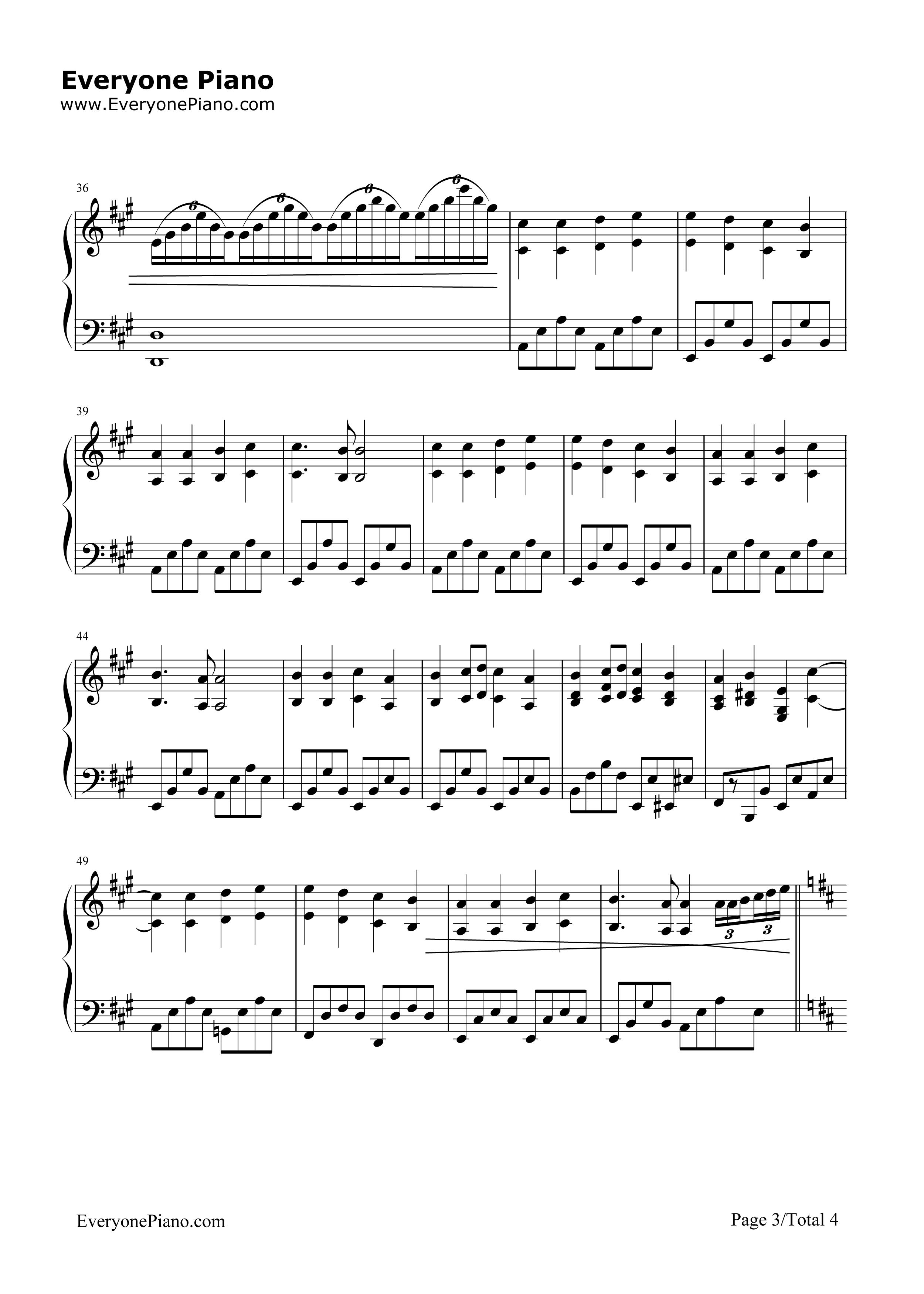 钢琴曲谱 经典 欢乐颂-完整版 欢乐颂-完整版五线谱预览3  }  仅供