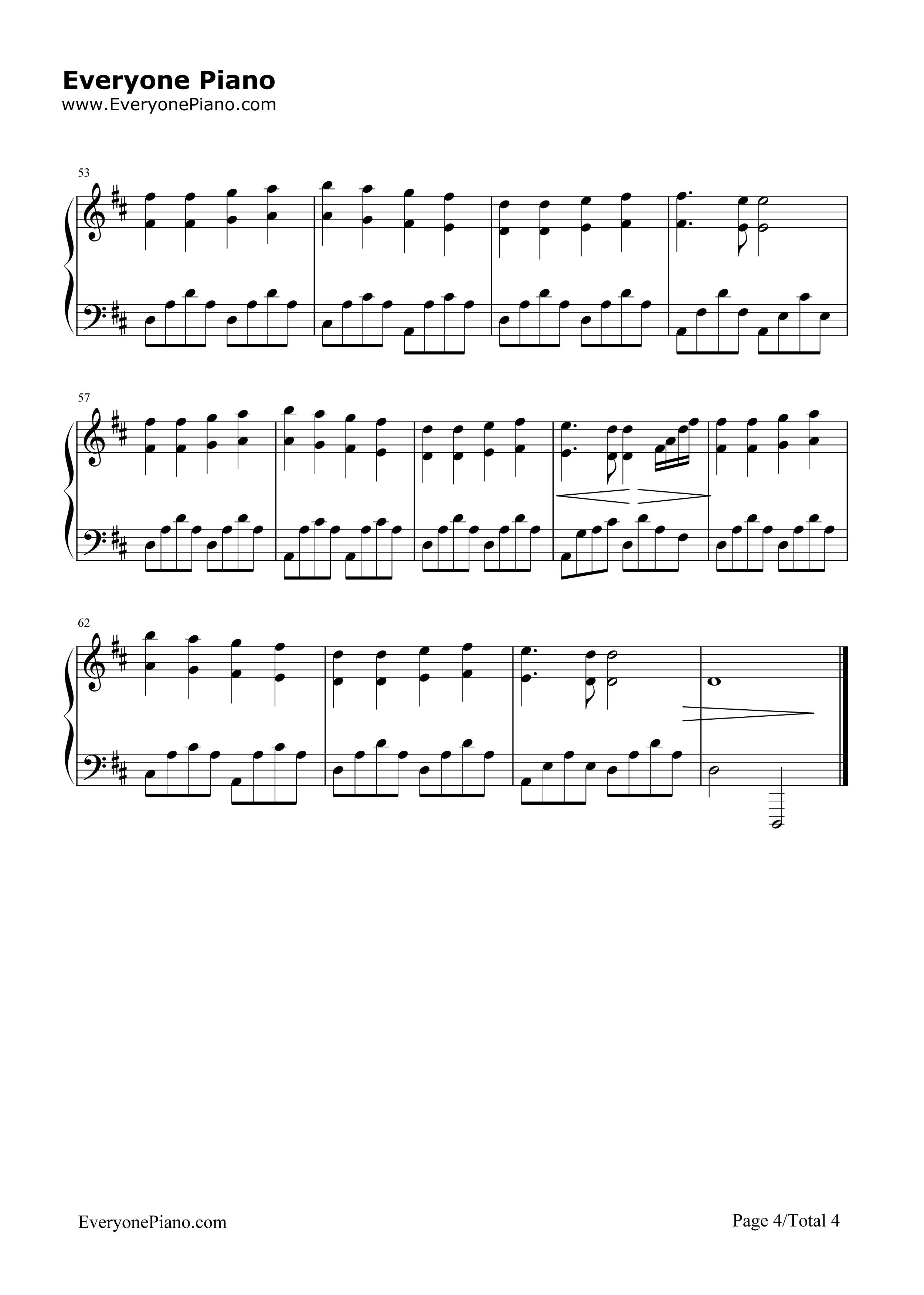 钢琴曲谱 经典 欢乐颂-完整版 欢乐颂-完整版五线谱预览4  }  仅供