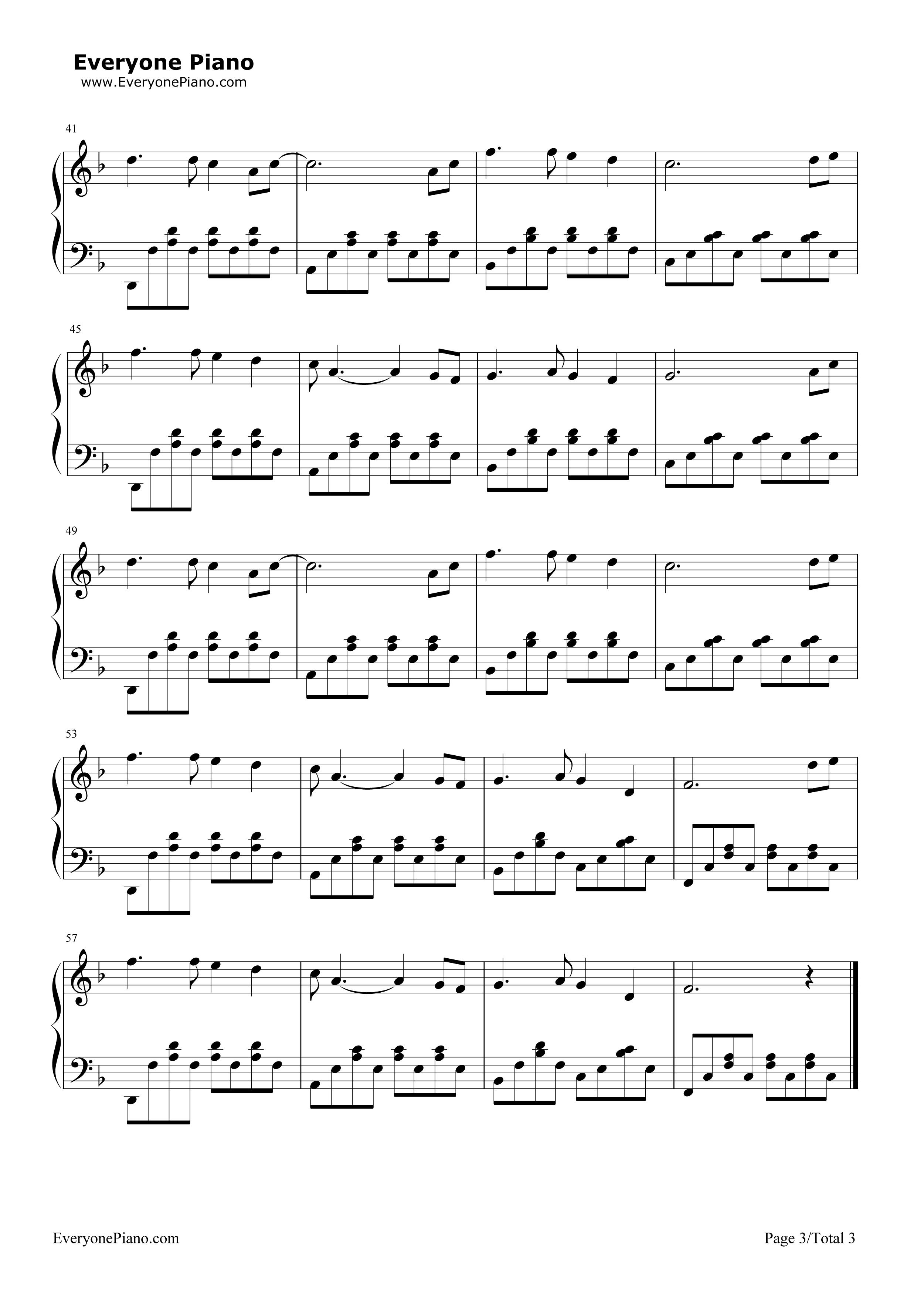 牵手-苏芮五线谱预览3-钢琴谱档(五线谱,双手简谱,数