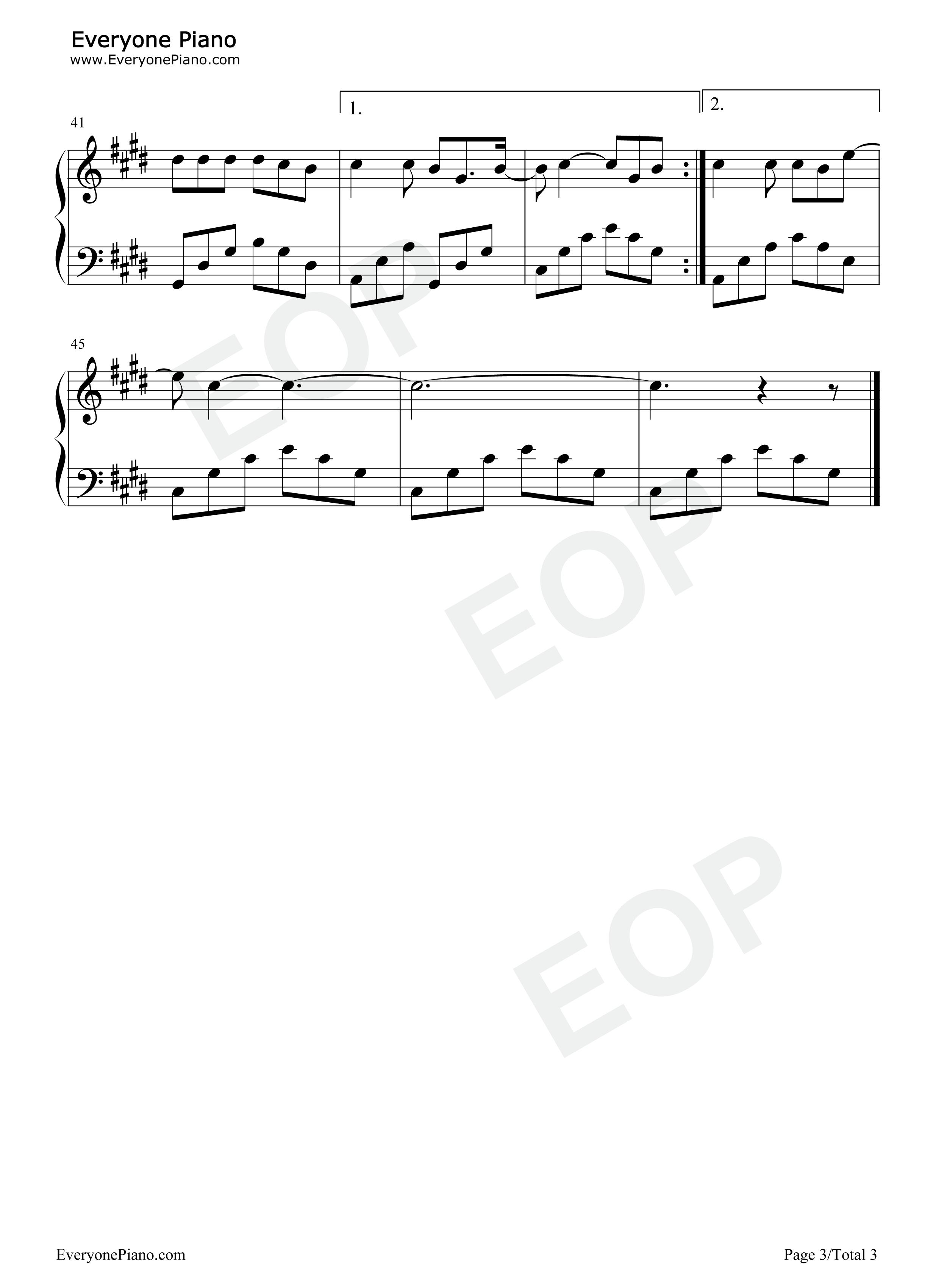 钢琴曲谱 经典 单身情歌-林志炫 单身情歌-林志炫五线谱预览3