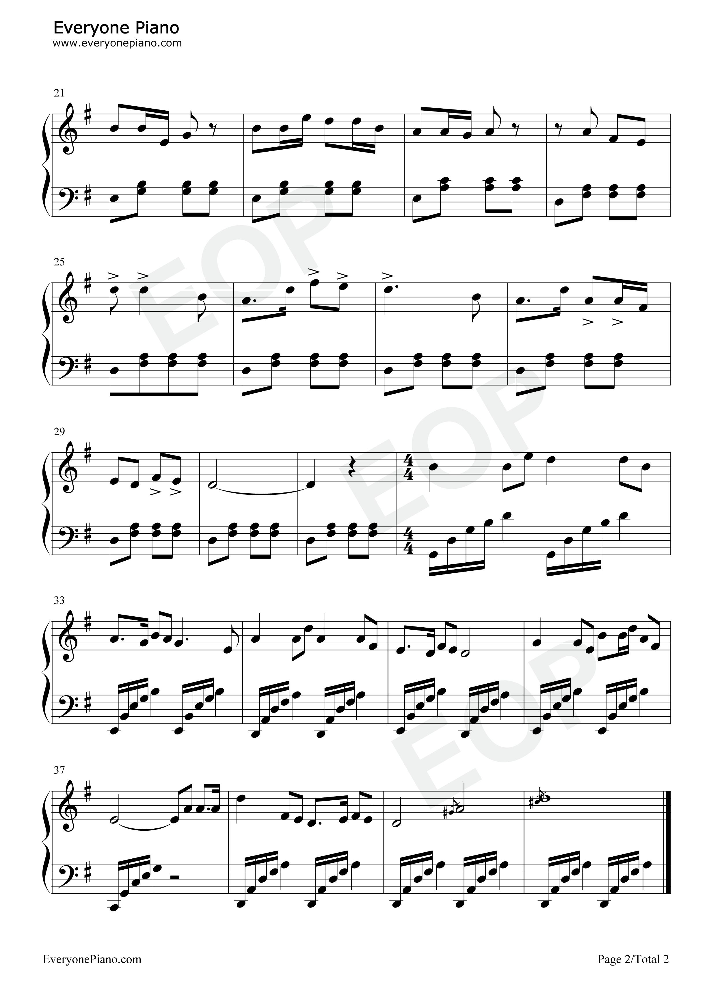 弹起我心爱的土琵琶-铁道游击队插曲五线谱预览2