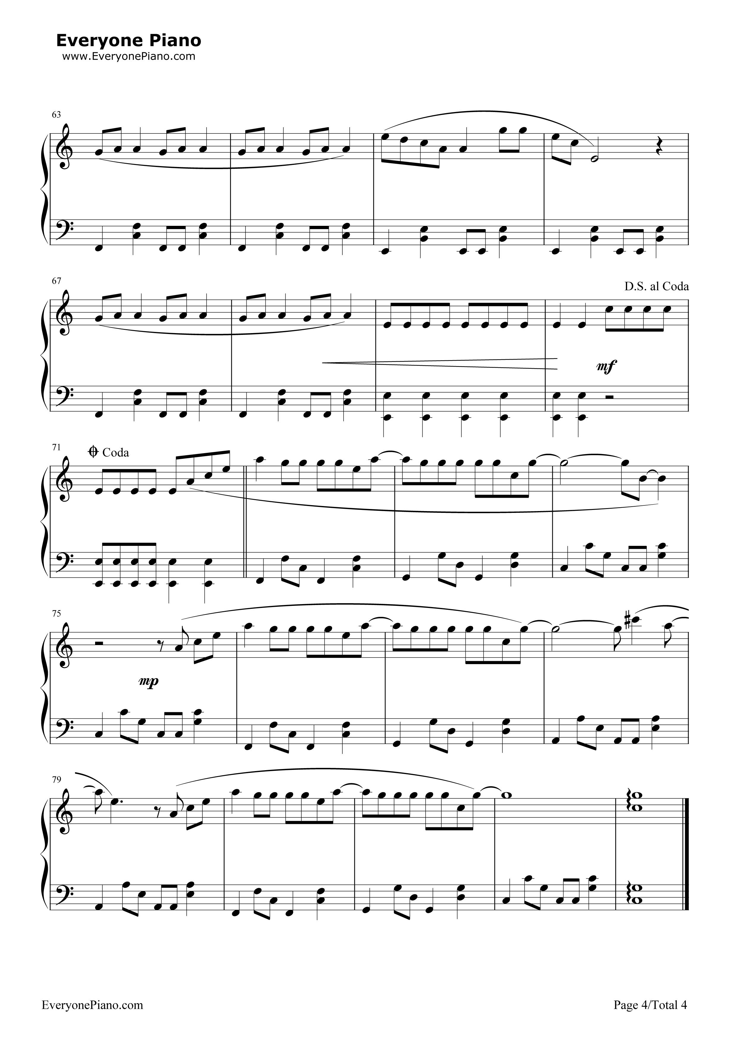 李白-李荣浩五线谱预览4-钢琴谱