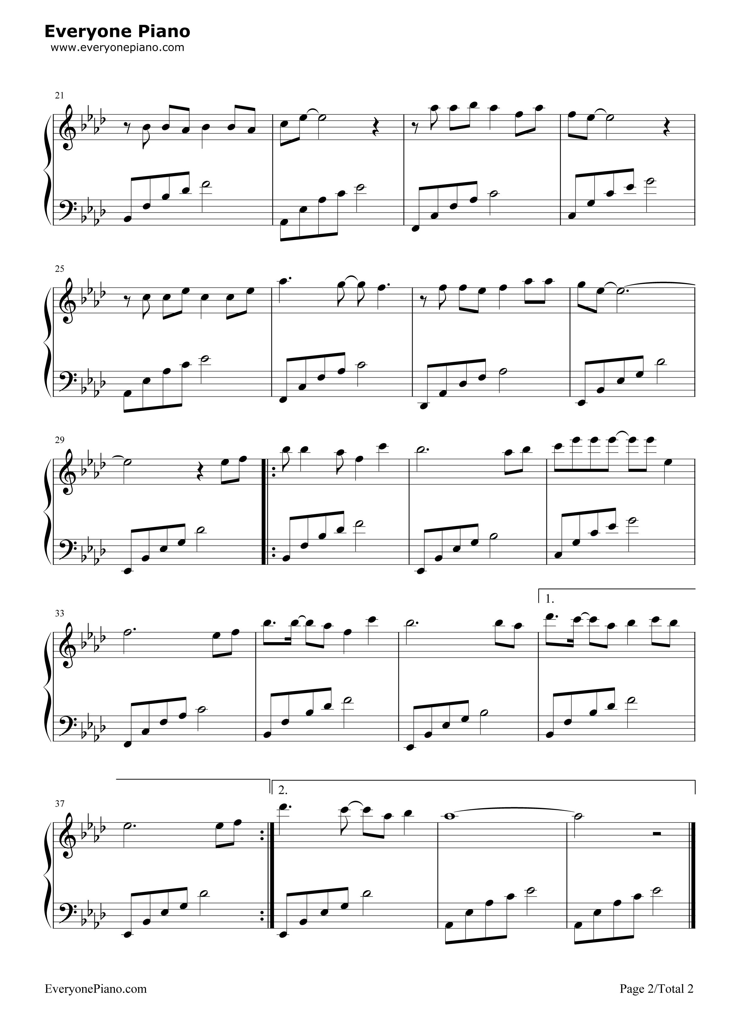 钢琴曲谱 流行 为爱痴狂-刘若英 为爱痴狂-刘若英五线谱预览2
