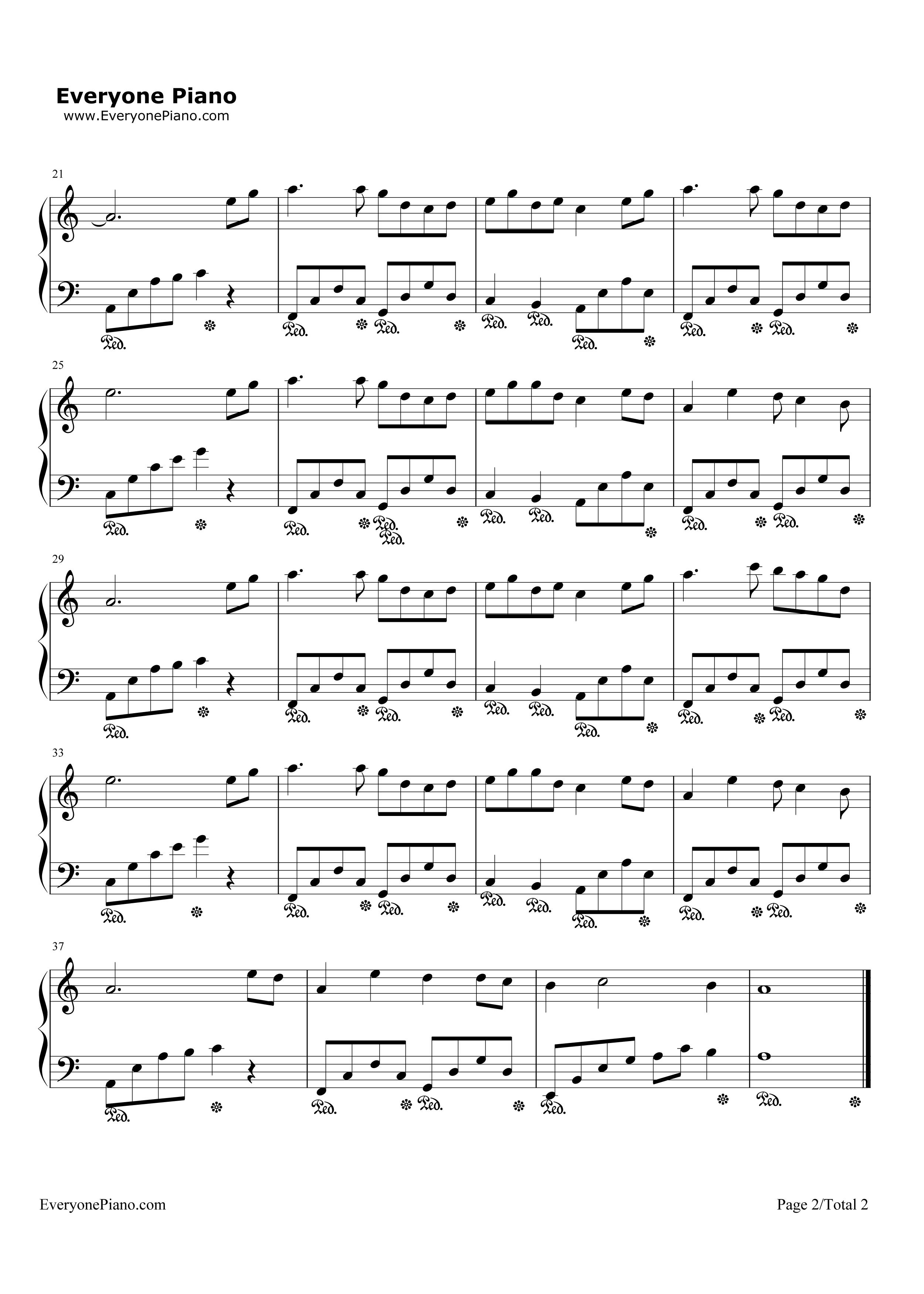三寸天堂-步步惊心片尾曲五线谱预览2